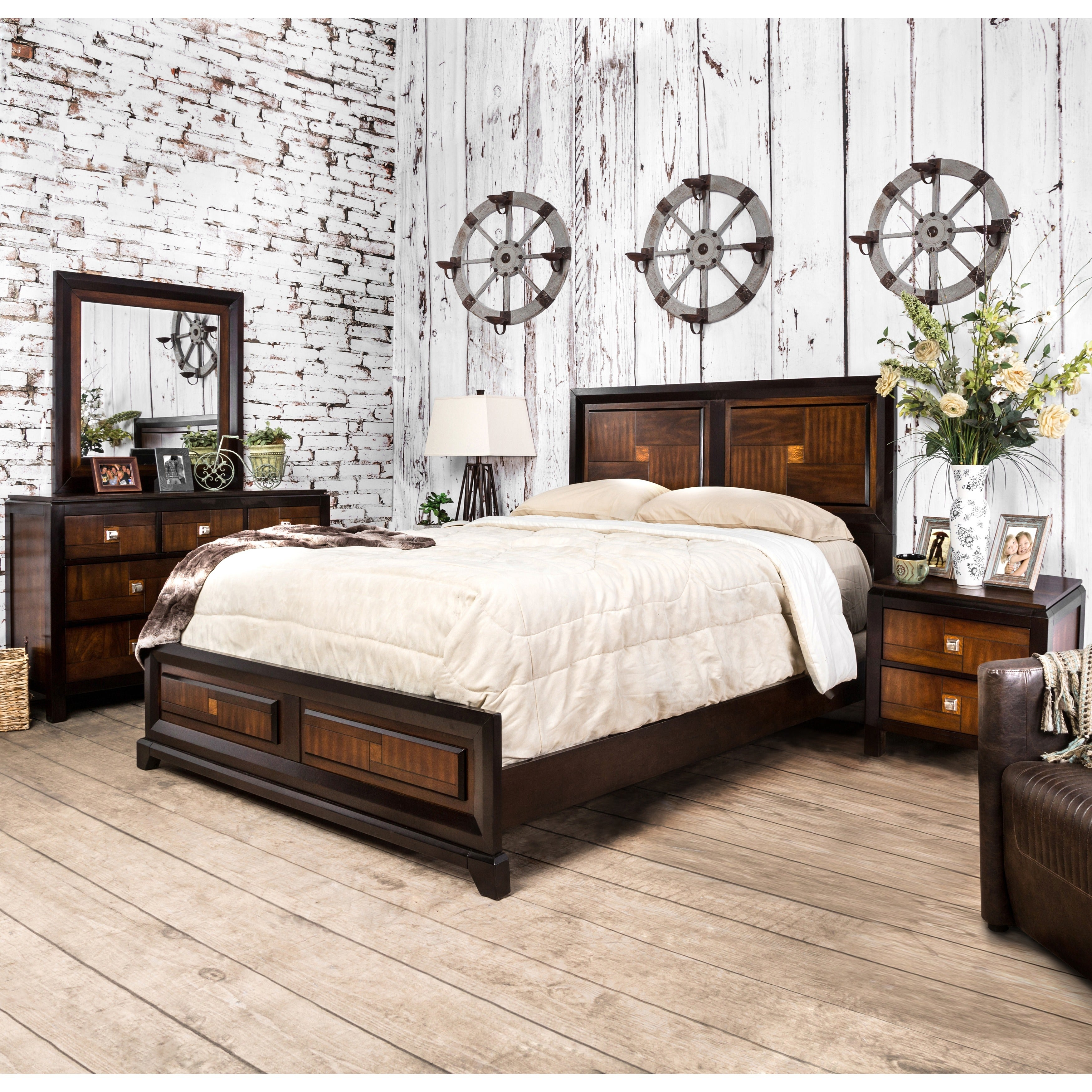 Furniture of America Duo-tone 4-piece Acacia and Walnut Bedroom ...