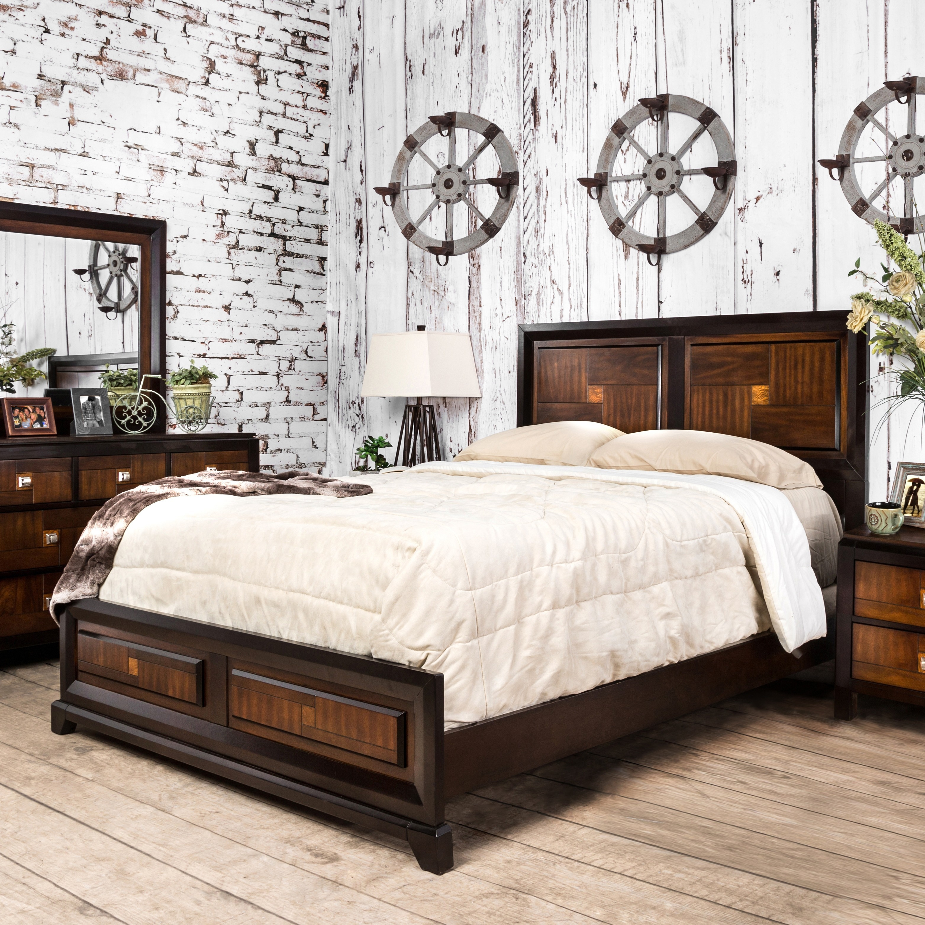 Shop furniture of america duo tone 4 piece acacia and walnut bedroom set on sale free shipping today overstock com 9239955
