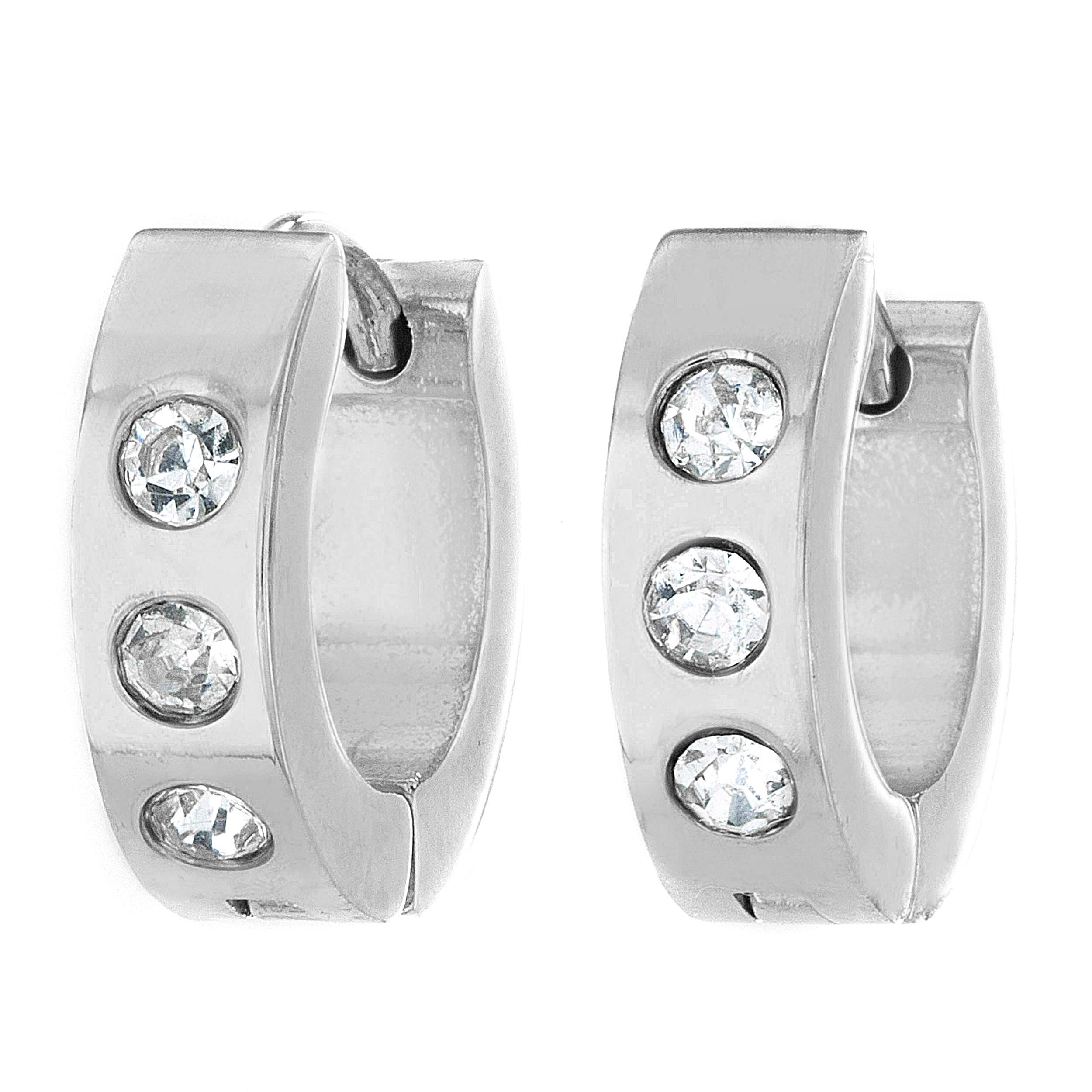 Shop Stainless Steel Cubic Zirconia 13mm Hoop Cuff Earrings Free
