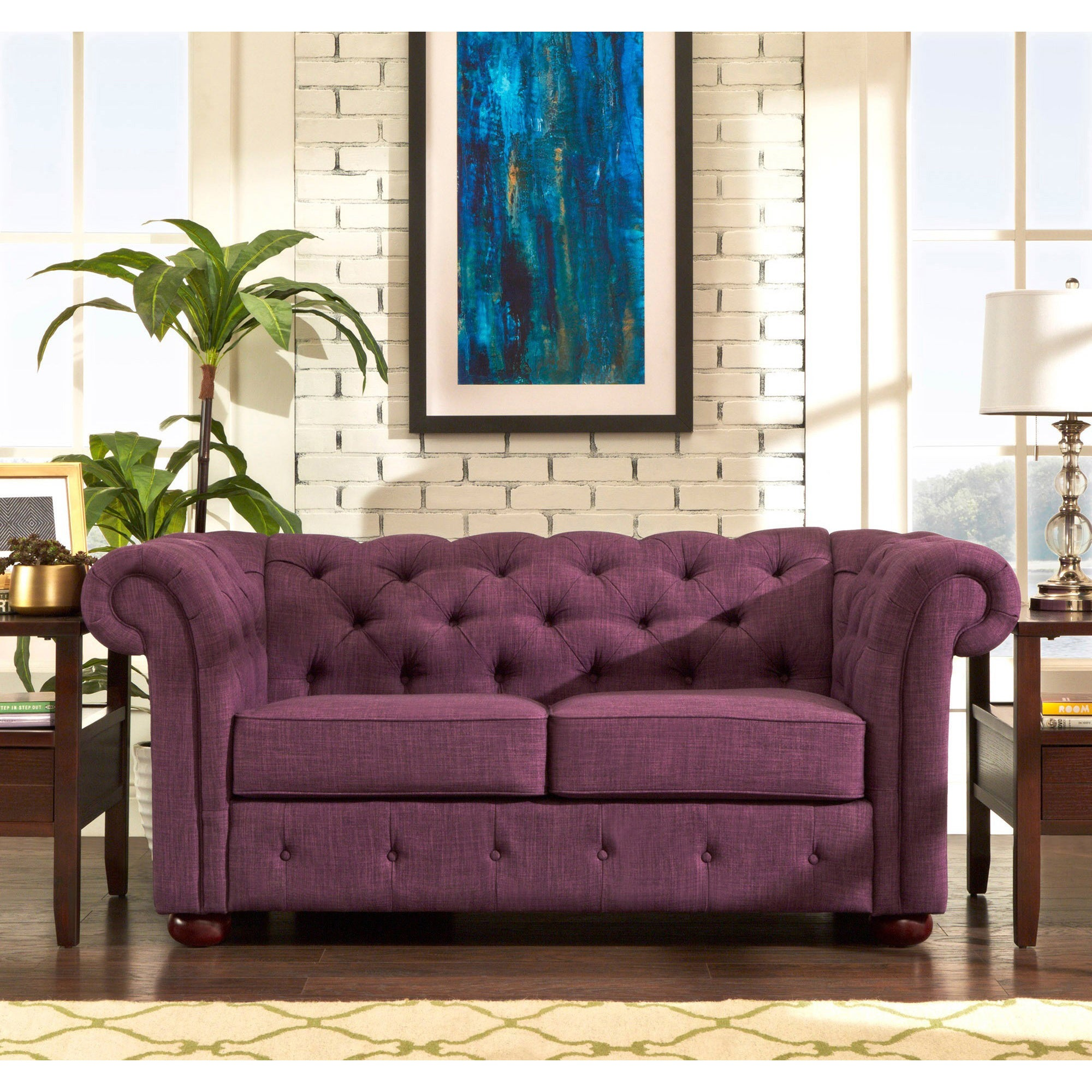 Knightsbridge Tufted Scroll Arm Chesterfield Loveseat by iNSPIRE Q Artisan  - Free Shipping Today - Overstock.com - 16408511