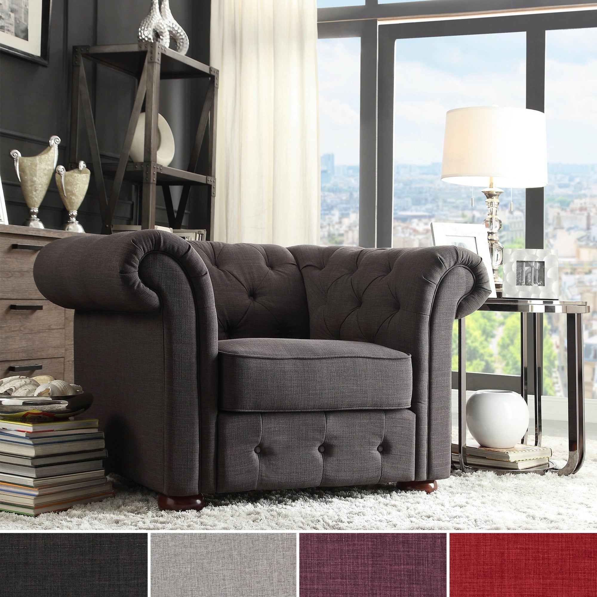 Knightsbridge Linen Tufted Scroll Arm Chesterfield Chair by iNSPIRE Q  Artisan - Free Shipping Today - Overstock.com - 16408514