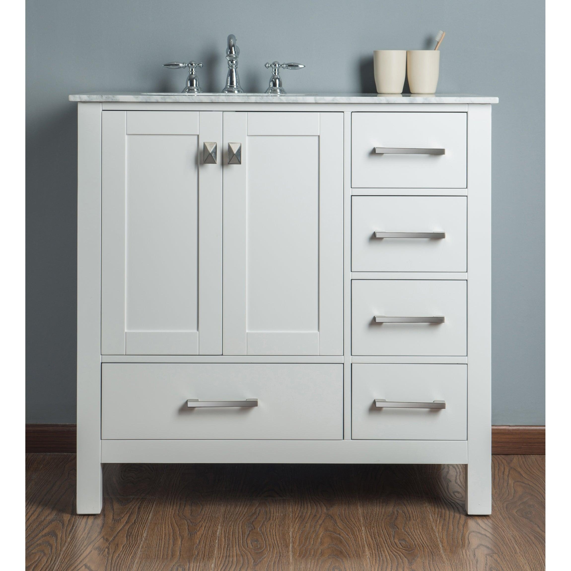 Shop malibu pure white single sink 36 inch bathroom vanity free shipping today overstock com 9242685