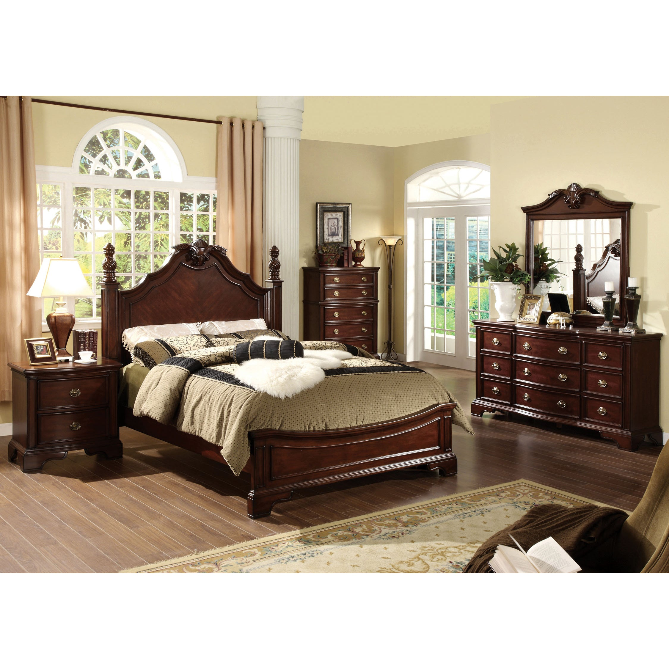 Shop Furniture Of America Ambrosio Formal 4 Piece Dark Cherry Bedroom Set    Free Shipping Today   Overstock.com   9245359