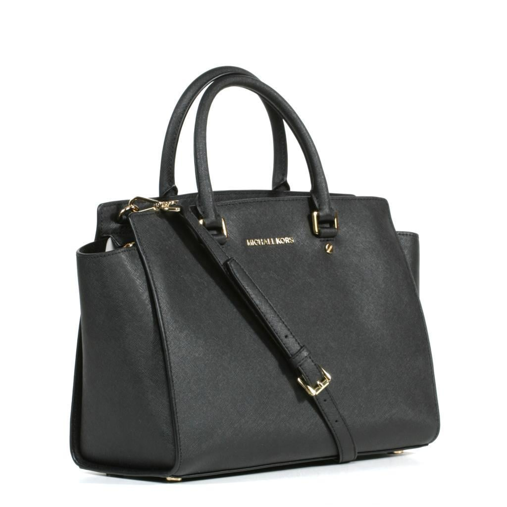6f179f92f8c6 Shop MICHAEL Michael Kors 'Selma' Large Black Satchel - Free Shipping Today  - Overstock - 9245478