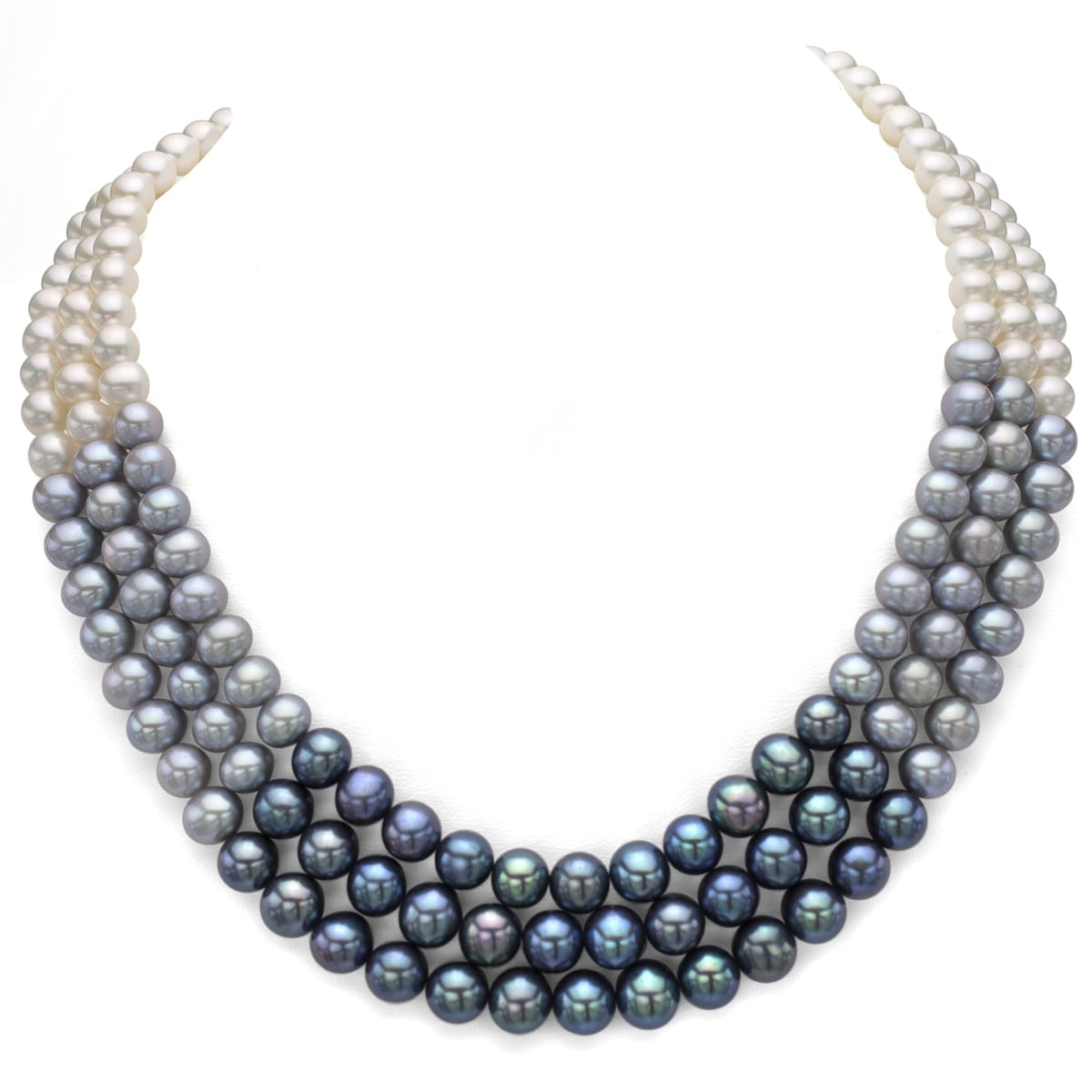 zoom pearl up down black necklace