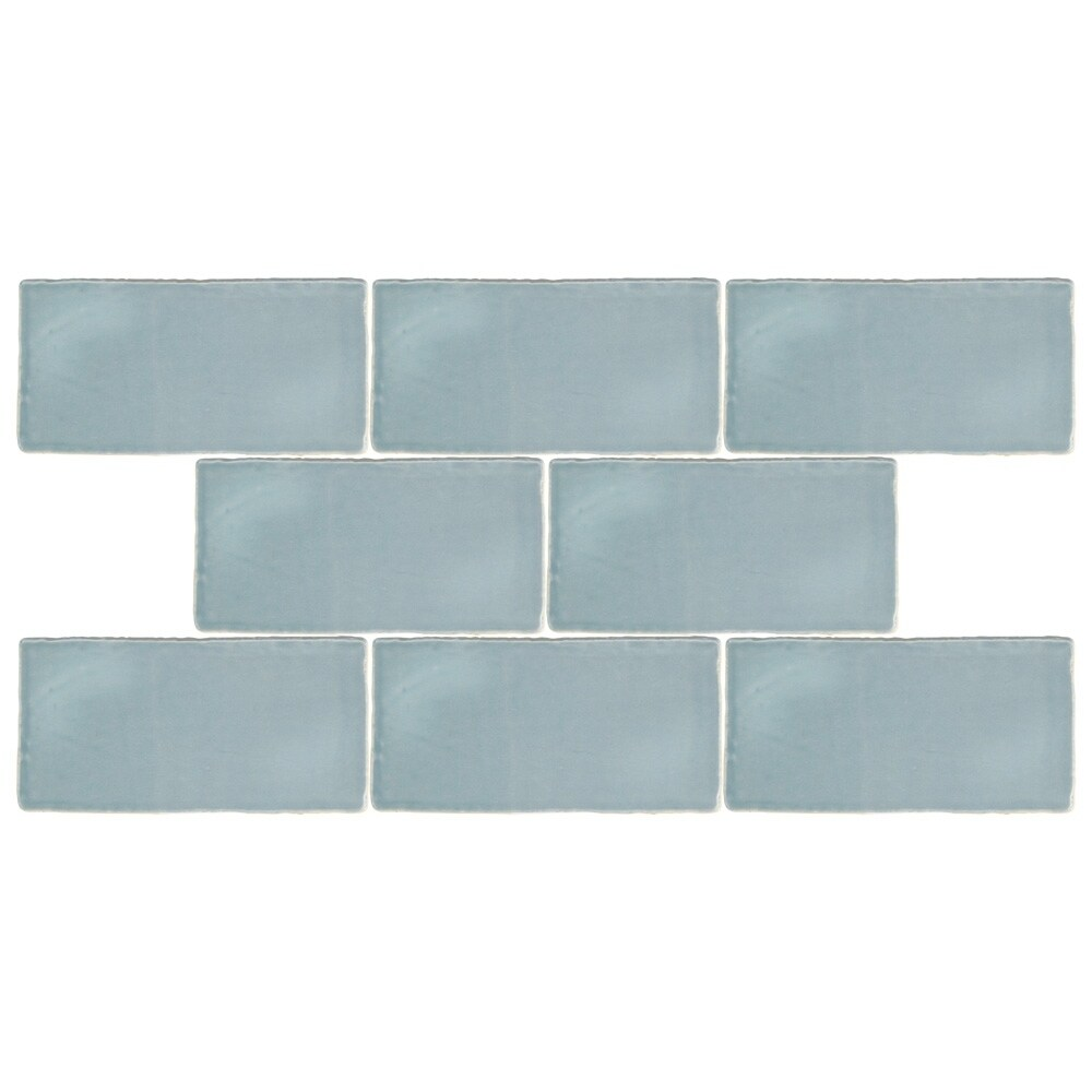 Shop SomerTile Gloucester Acqua Blue Ceramic 3-inch by 6-inch Wall ...