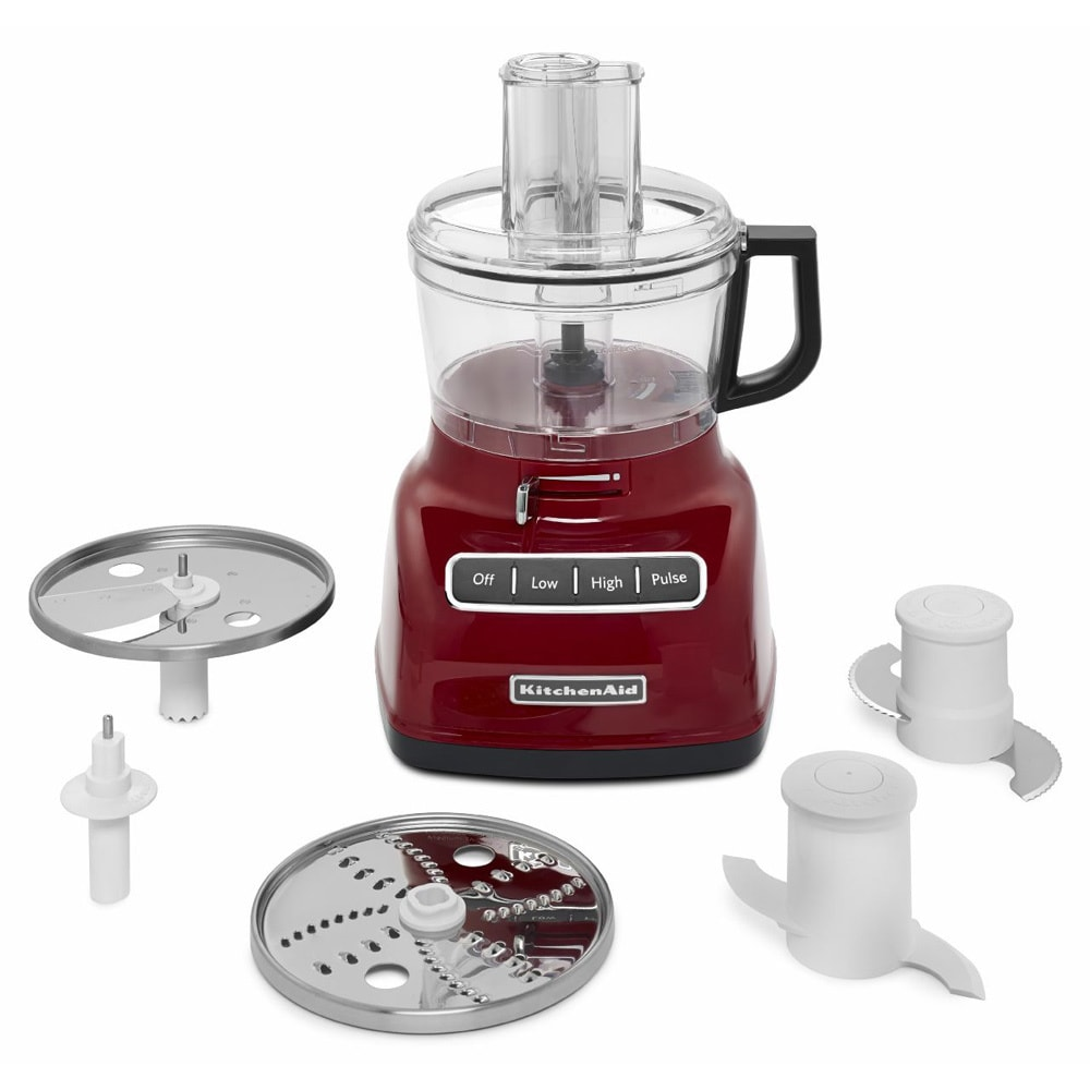 shop kitchenaid kfp0722er red 7 cup food processor with exactslice