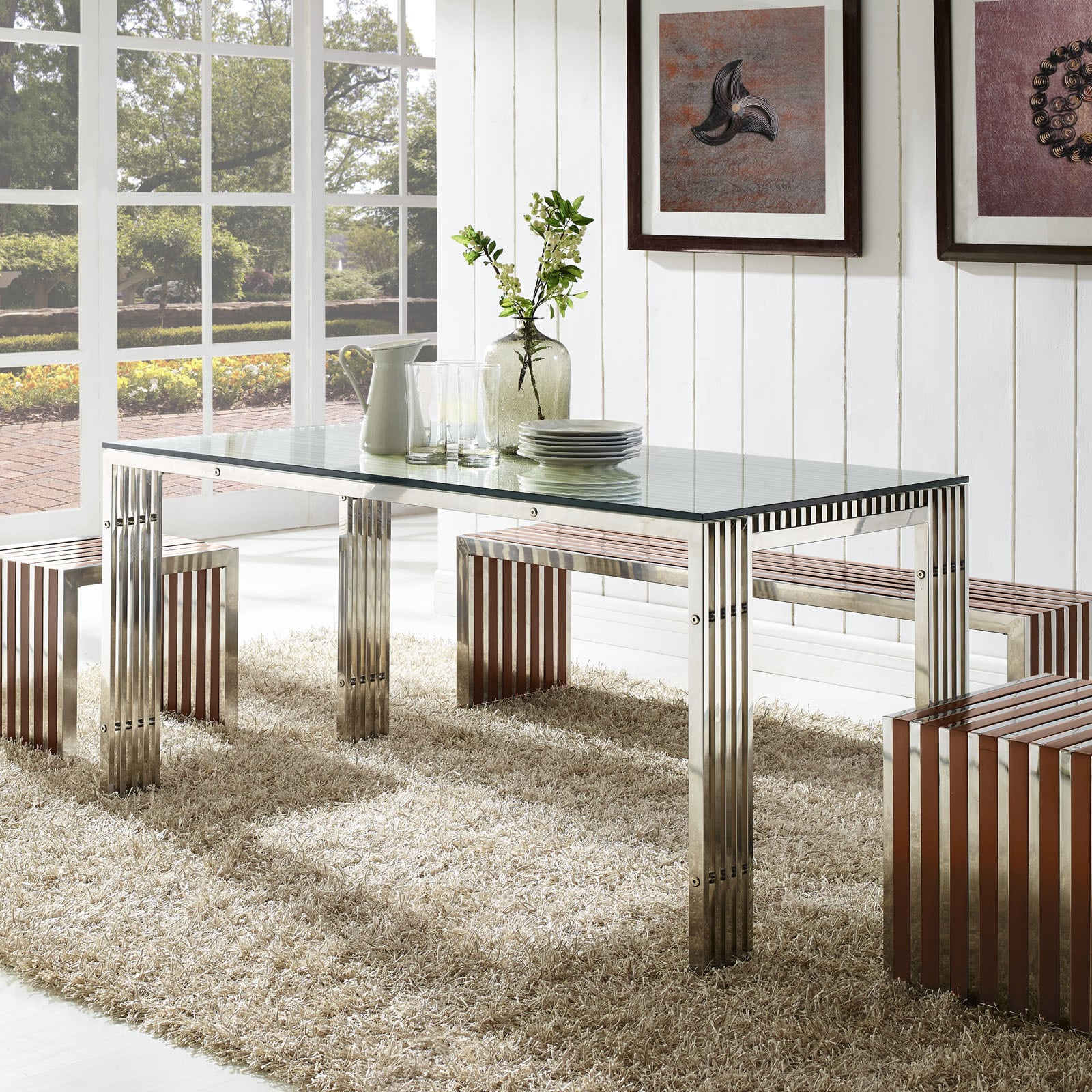 Shop Gridiron Stainless Steel Dining Table - On Sale - Free Shipping ...
