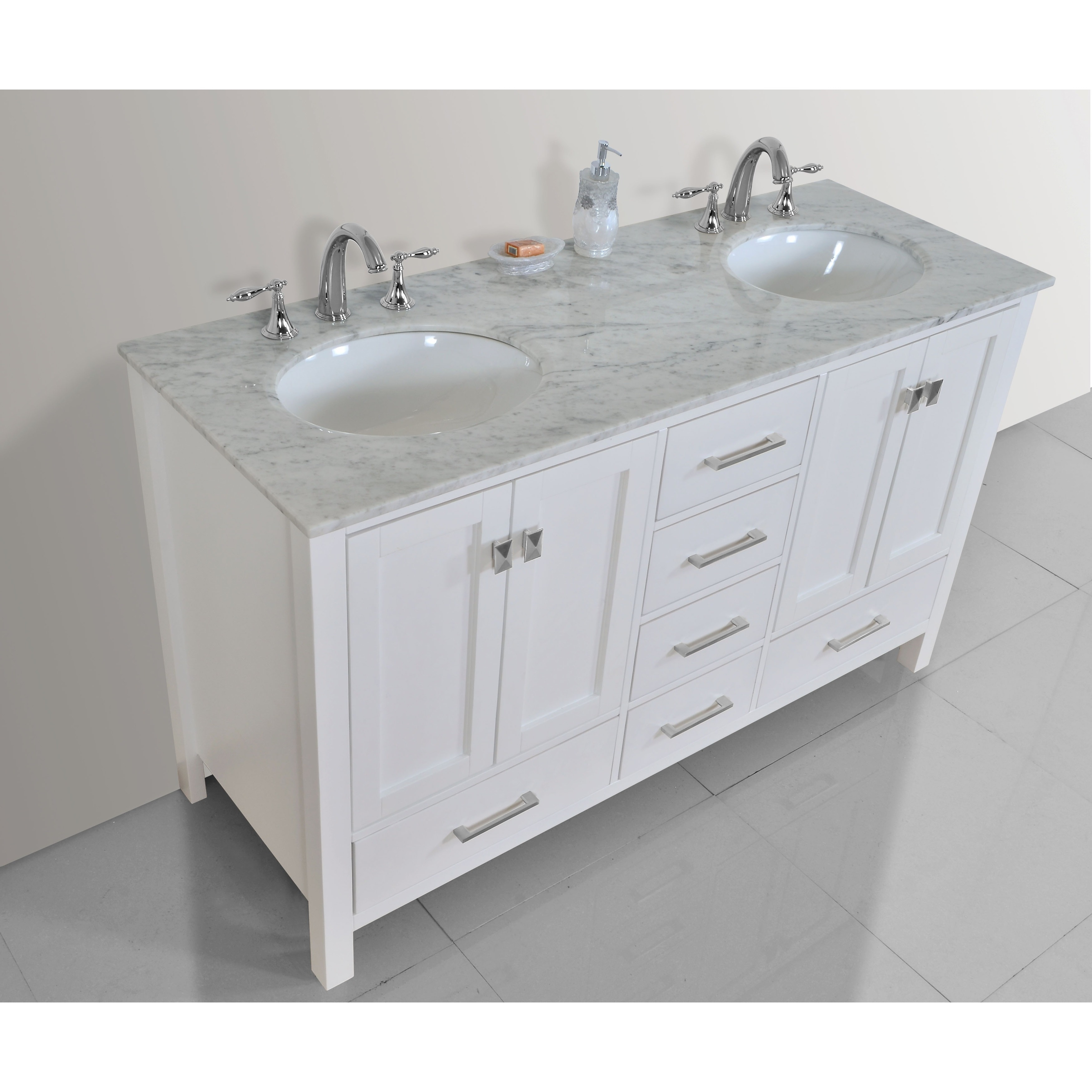 60 Inch Malibu Pure White Double Sink Bathroom Vanity Cabinet With 59 Inch  Mirror   Free Shipping Today   Overstock.com   16416197