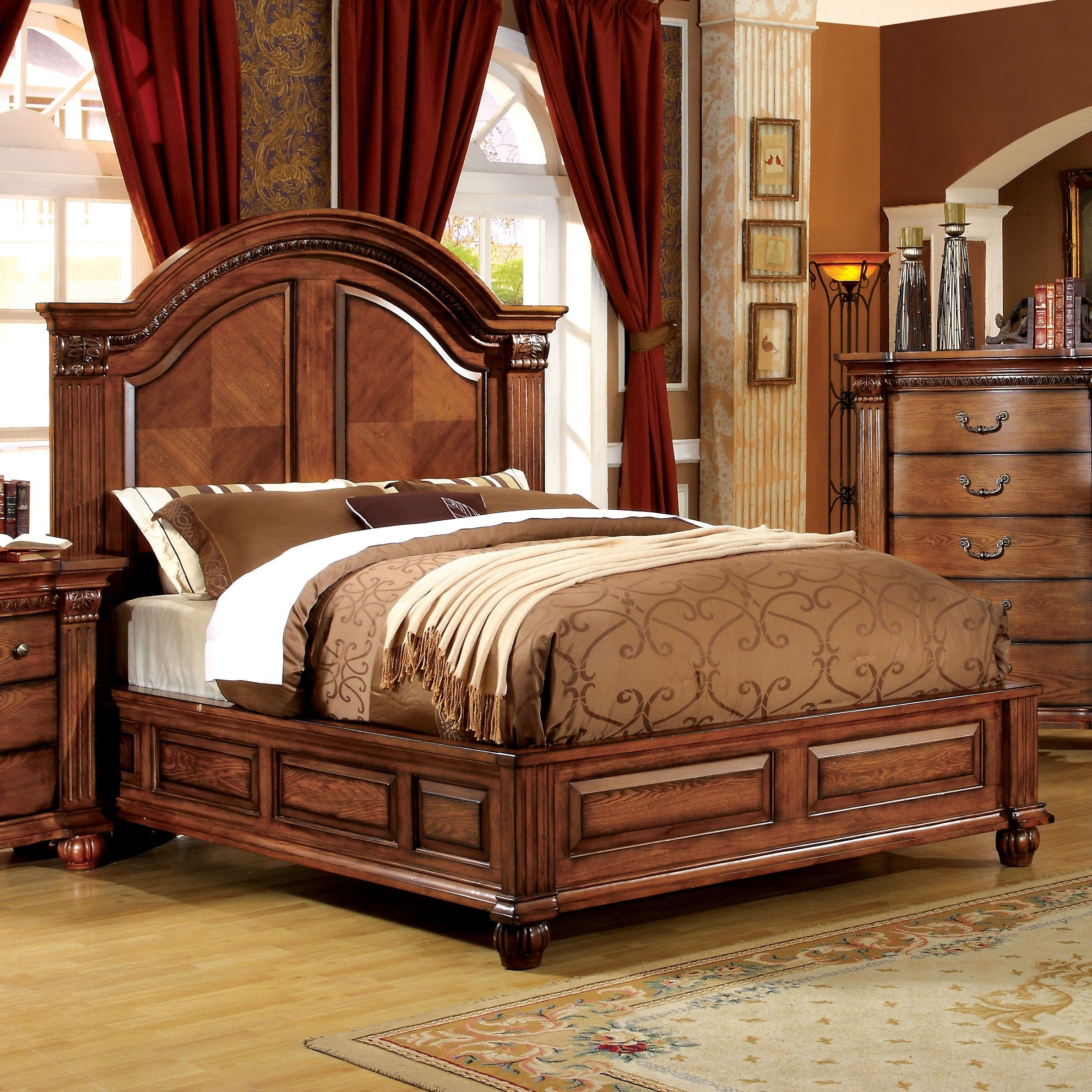 Shop Furniture Of America Traditional Antique Tobacco Oak 4 Piece