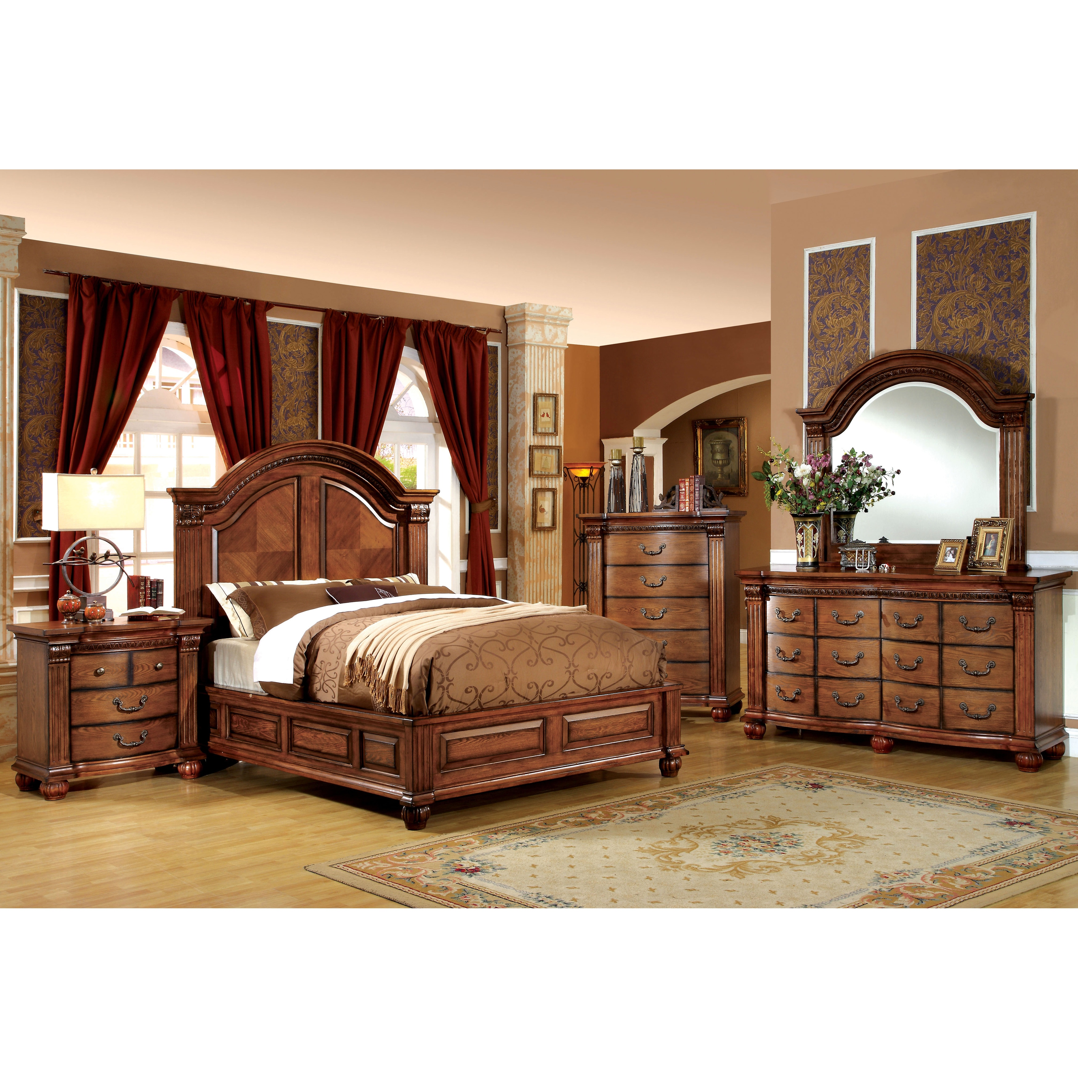 Shop Furniture Of America Traditional Style 4 Piece Antique Tobacco Oak  Bedroom Set   Free Shipping Today   Overstock.com   9251850