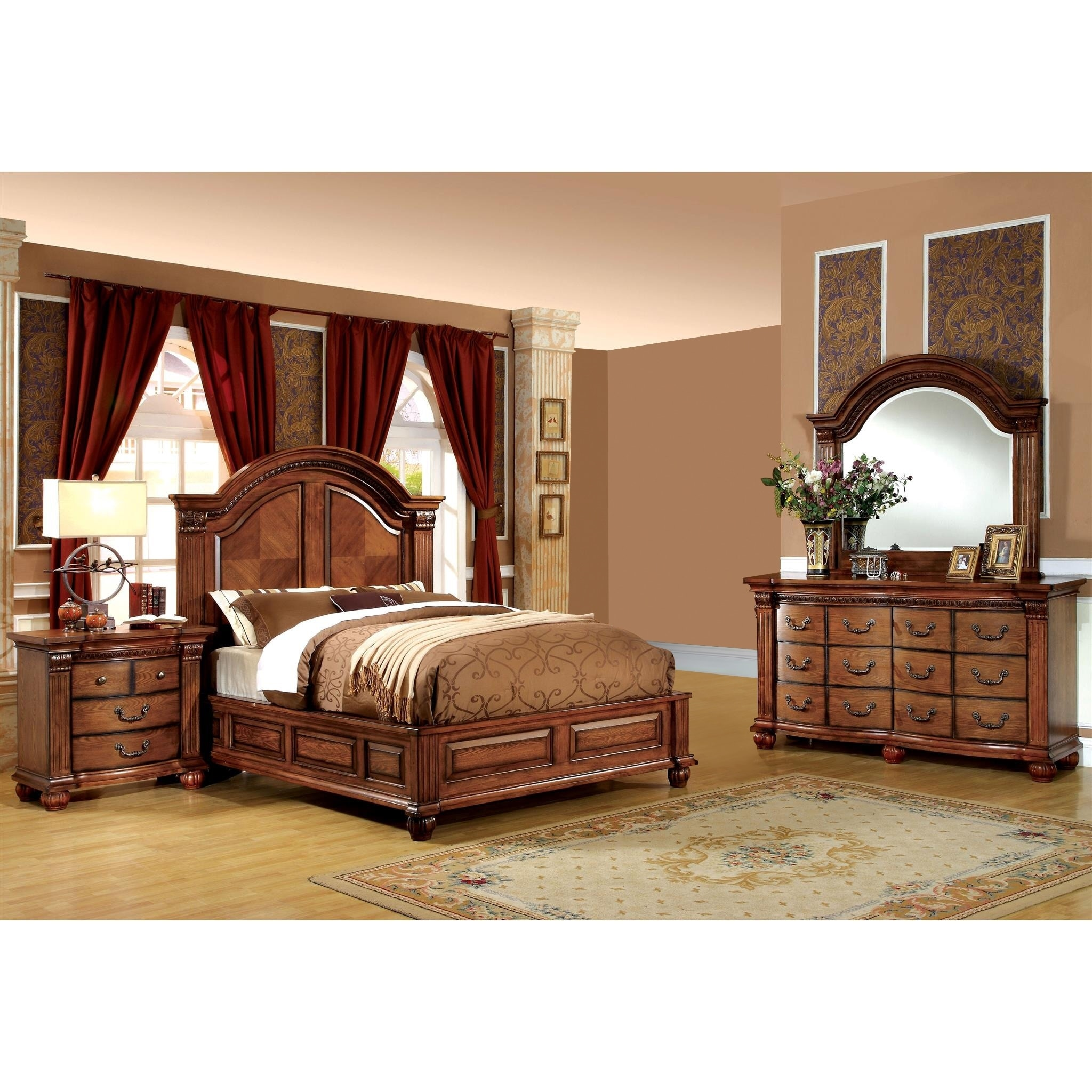 Shop Traditional Antique Tobacco Oak 4-Piece Bedroom Set by FOA - On ...