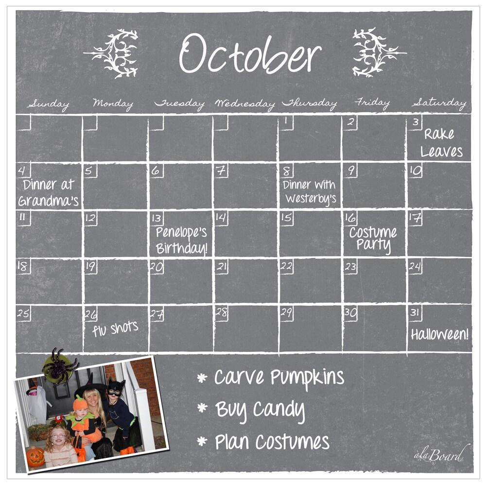 Magnetic Monthly Calendar For Refrigerator : Shop grey chalkboard magnetic dry erase monthly calendar free