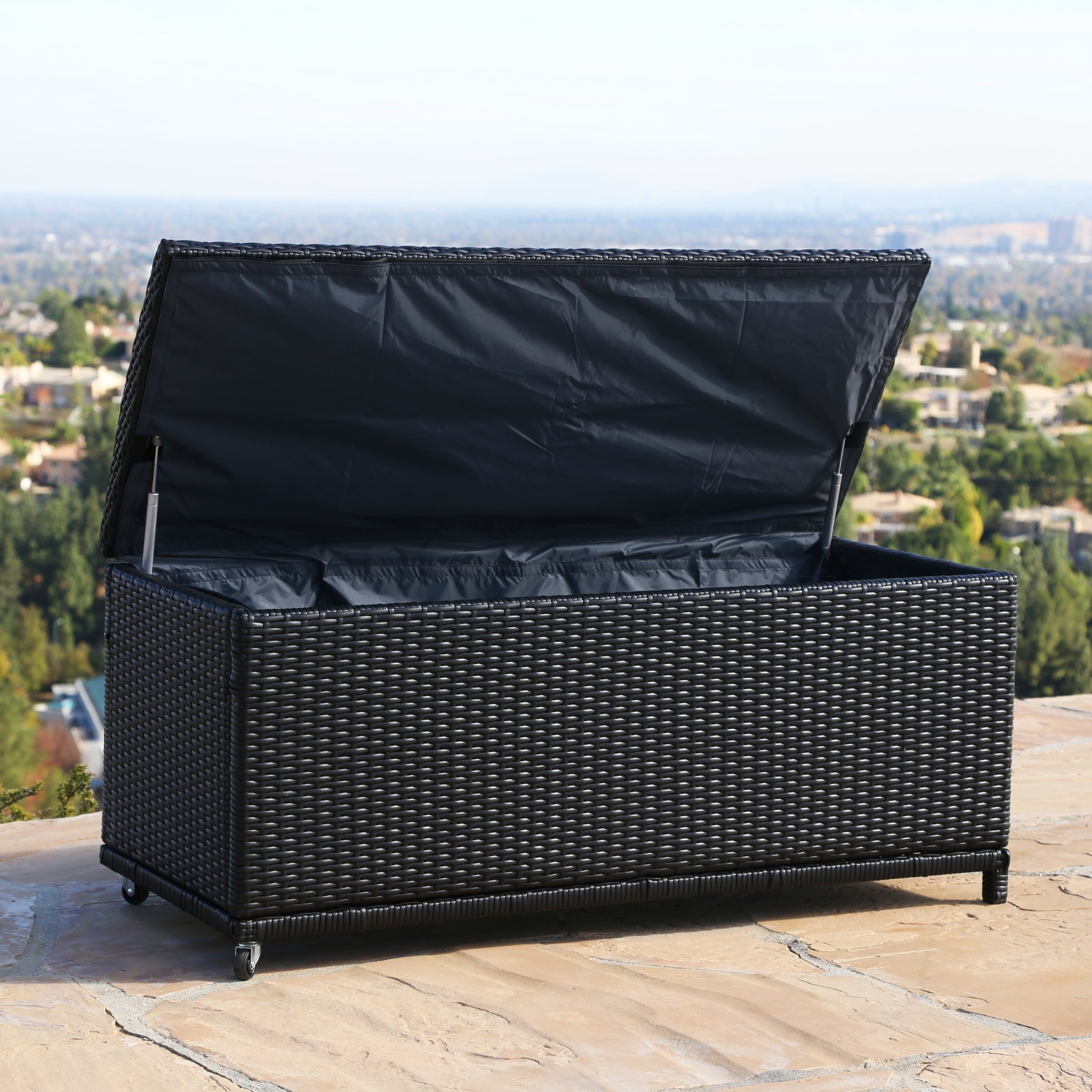 Shop Abbyson Pasadena Outdoor Black Wicker Storage Ottoman   On Sale   Free  Shipping Today   Overstock.com   9252888