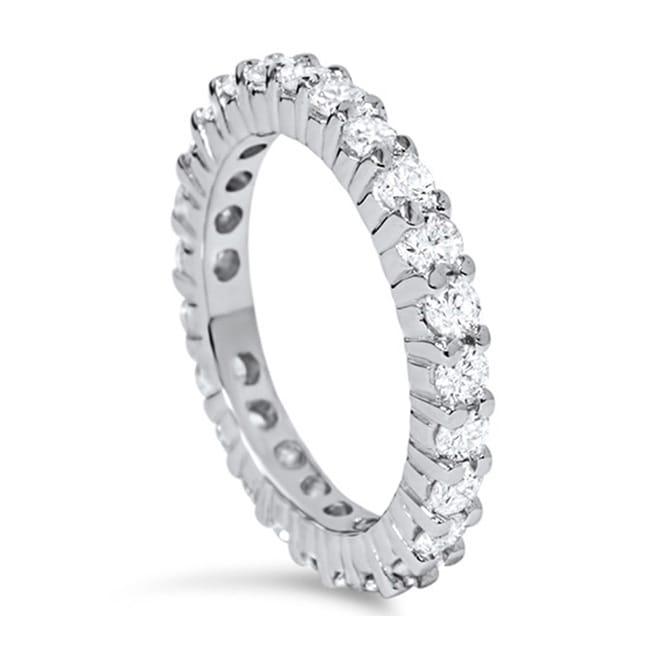 14k White Gold 1ct TDW Diamond Eternity Wedding Ring Free Shipping