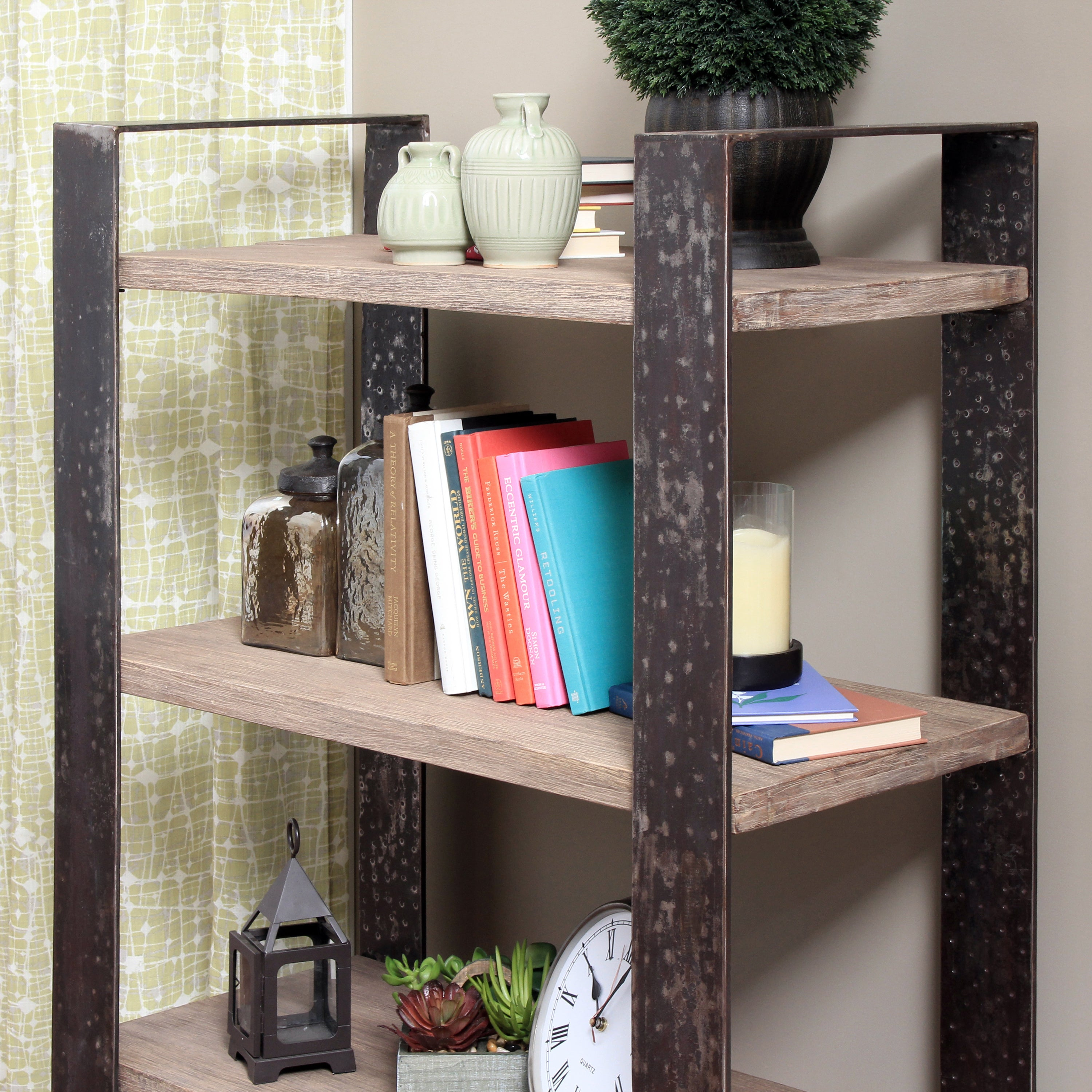 Wood And Wrought Iron Zal Gsp403 Medium Shelving Unit Free Shipping Today 9253796