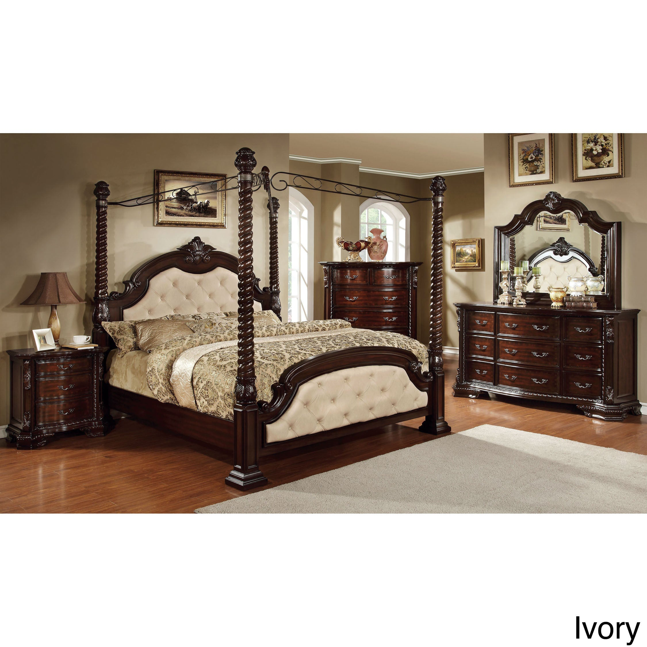 Furniture of America Kassania Luxury 4-piece Poster Canopy Bedroom ...