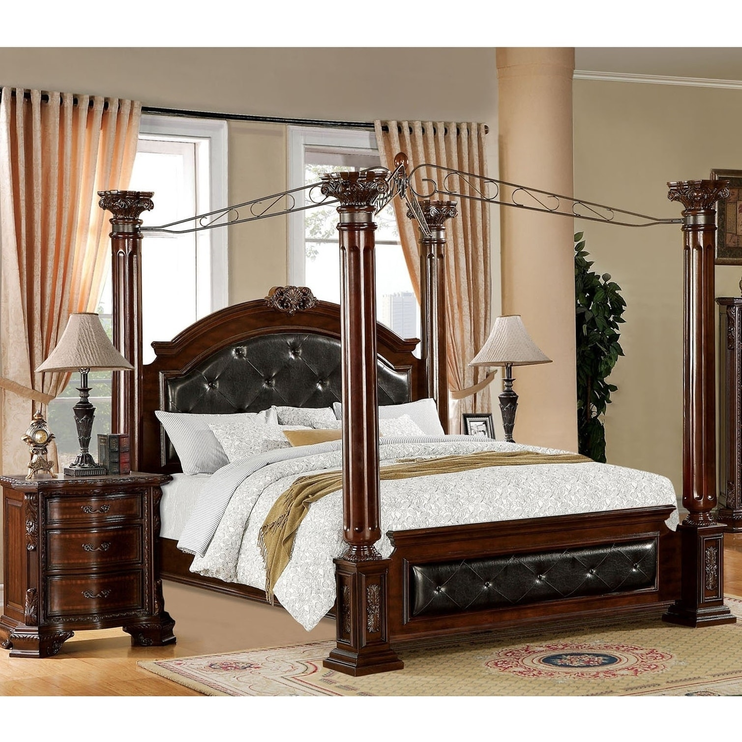 Baroque Traditional Brown Cherry 2-piece Canopy Bedroom Set