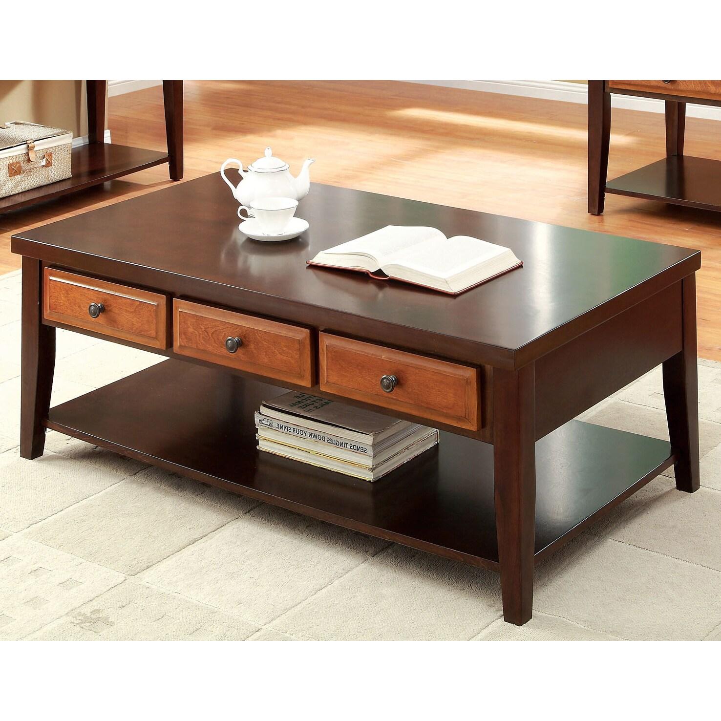 Furniture of America Berthal Two Tone 3 Drawer Coffee Table Free