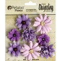 "Darjeeling Teastained Mini Mix Flowers .75"" To 1.5"" 8/Pkg-Purple"