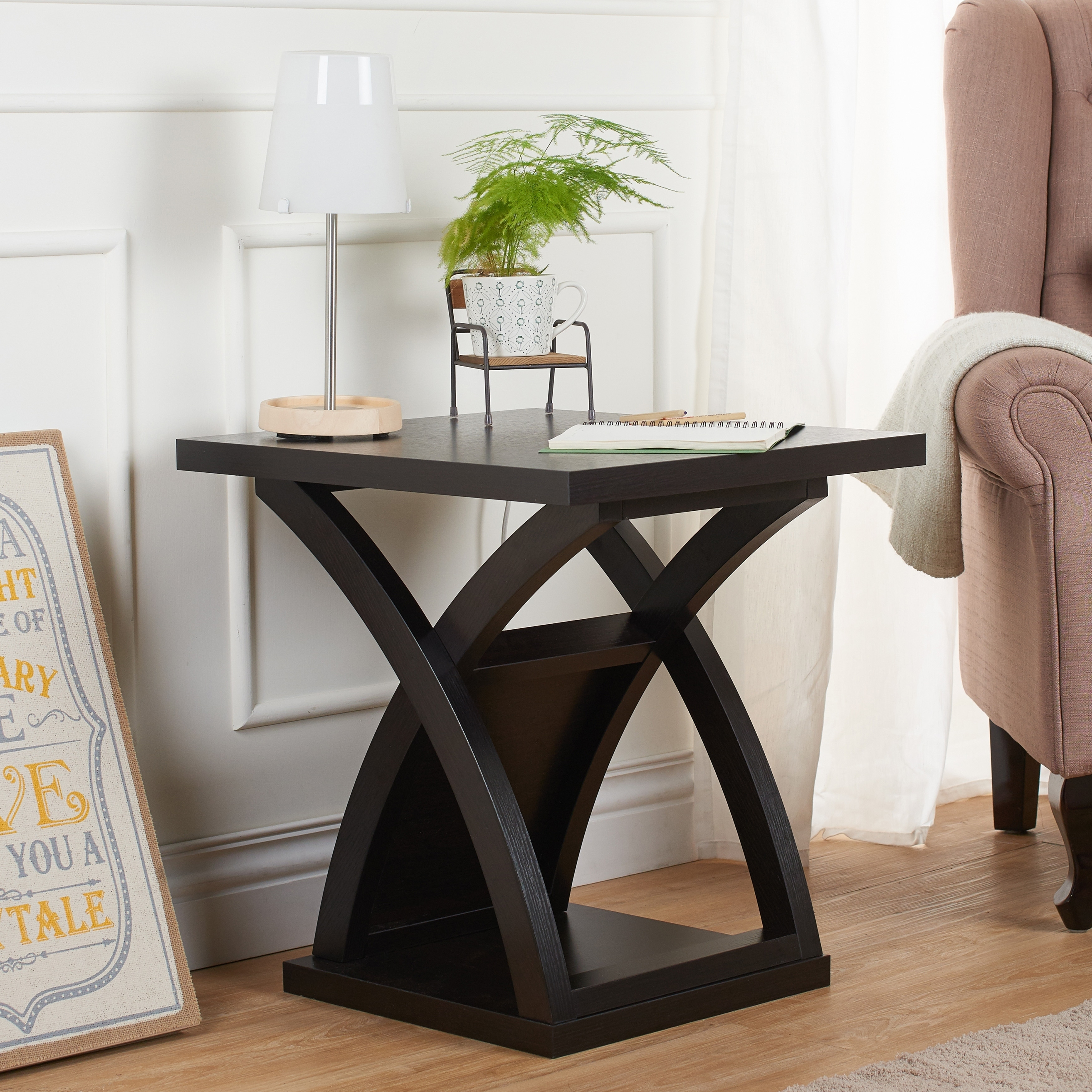 Shop furniture of america barkley modern espresso x base end table on sale free shipping today overstock com 9264145
