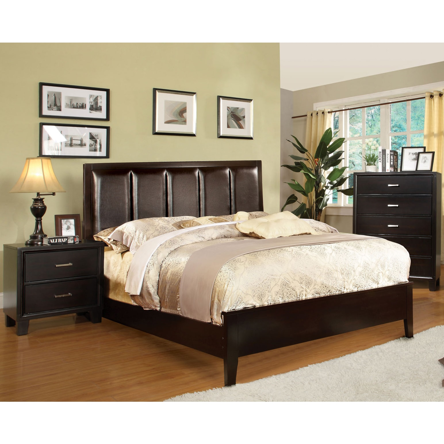 Shop furniture of america contemporary 2 piece leatherette bed with nightstand set free shipping today overstock com 9270109