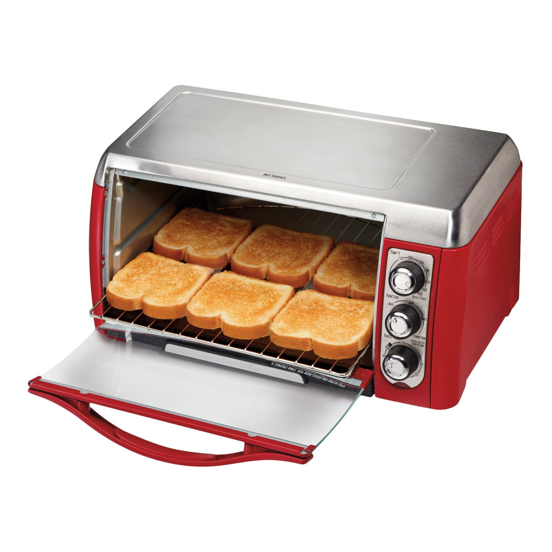 Hamilton Beach Red Ensemble 6 slice Toaster Oven w Broiler Free