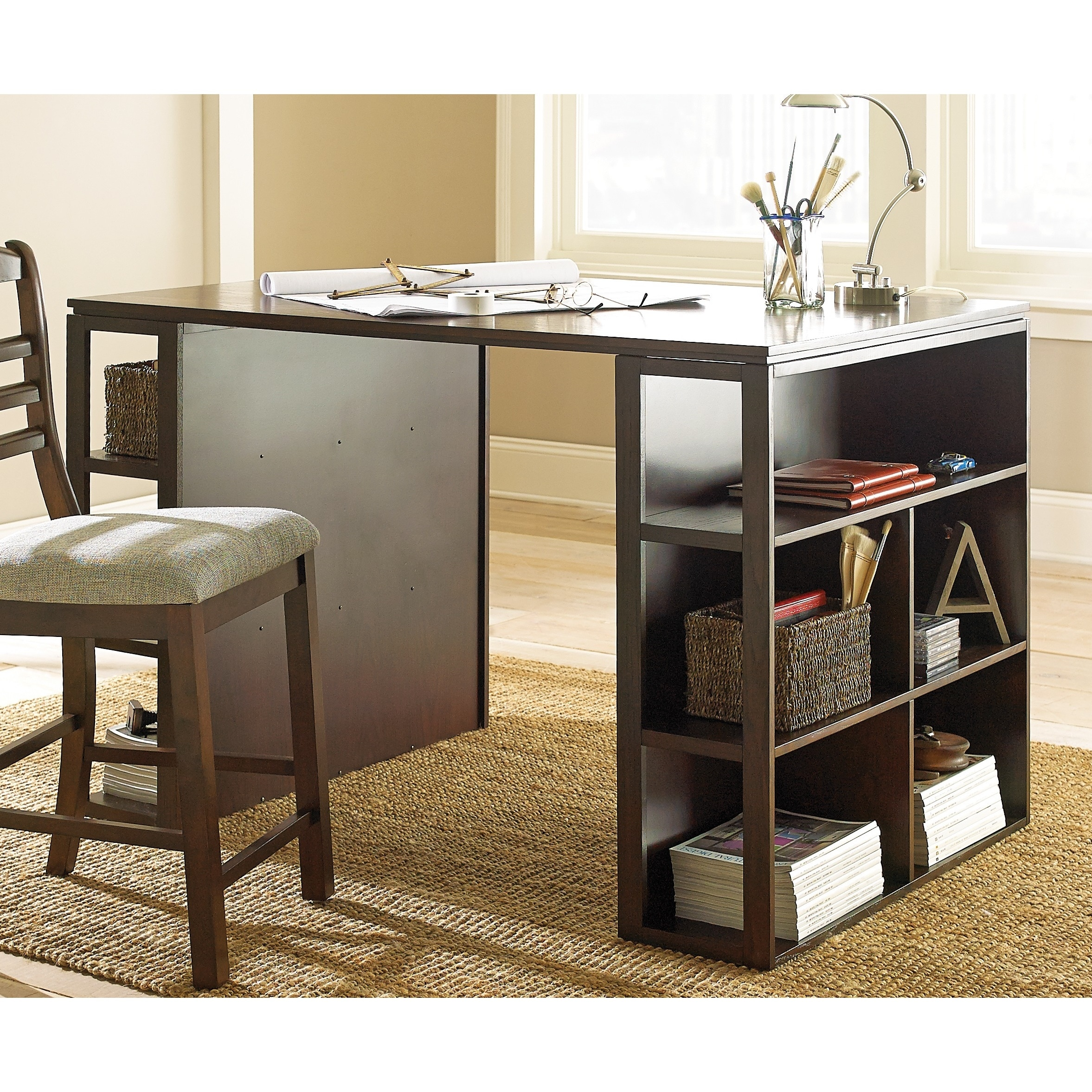 Shop barclay black counter height desk by greyson living free shipping today overstock com 9272842