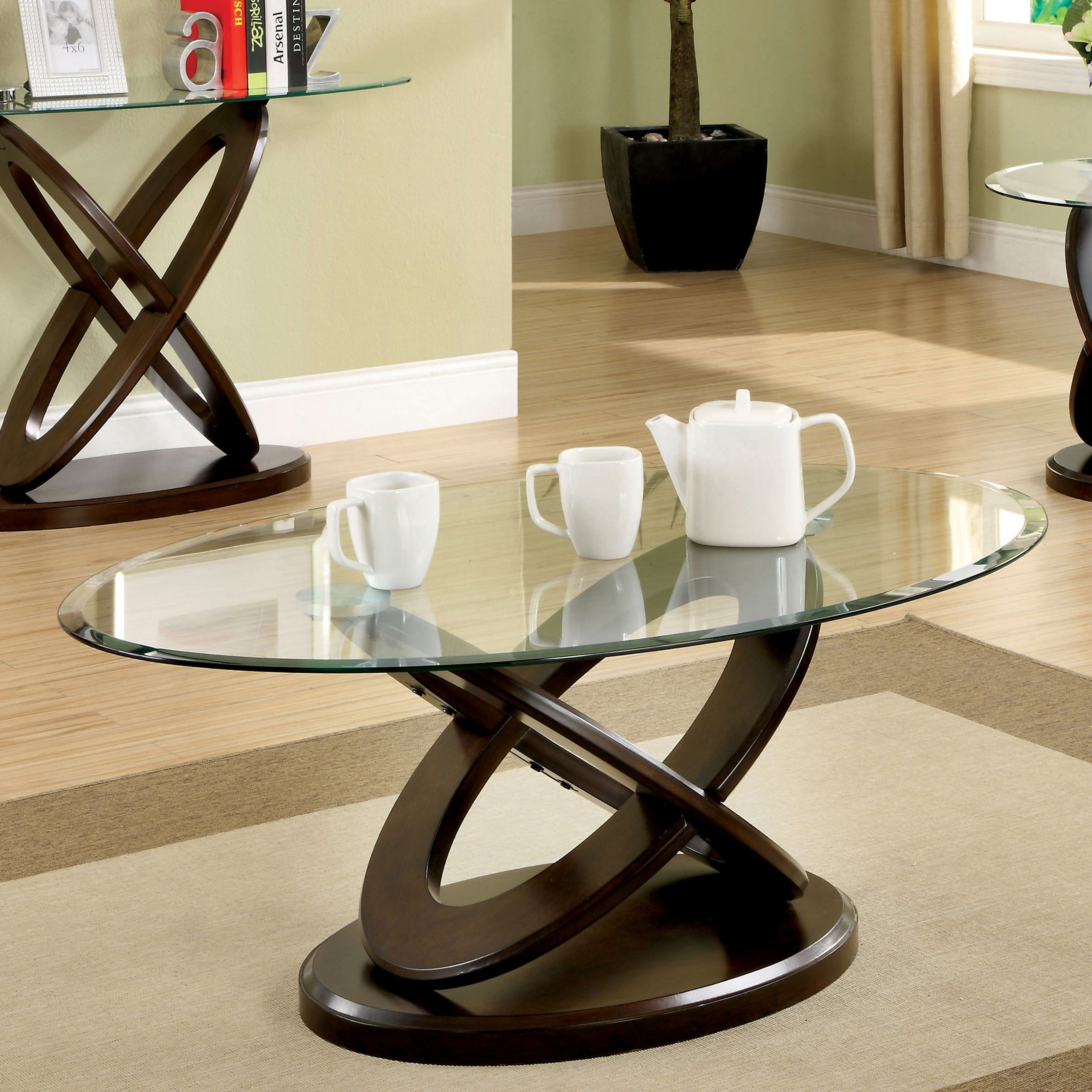 Shop Furniture Of America Evalline Oval Glass Top Coffee Table On