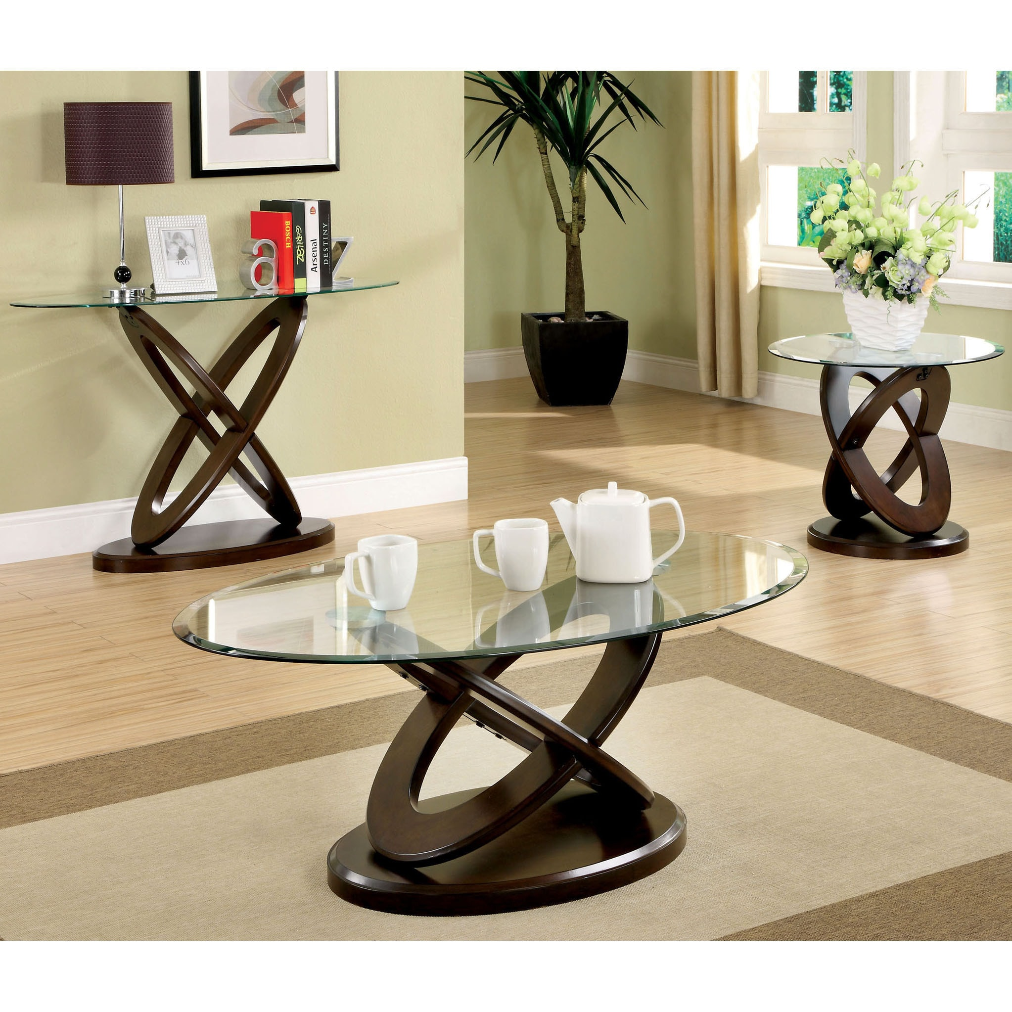Furniture of America Evalline Oval Glass Top Coffee Table Free
