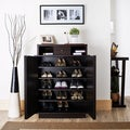 Furniture of America Arthurie Espresso Enclosed 5-shelf Shoe Cabinet