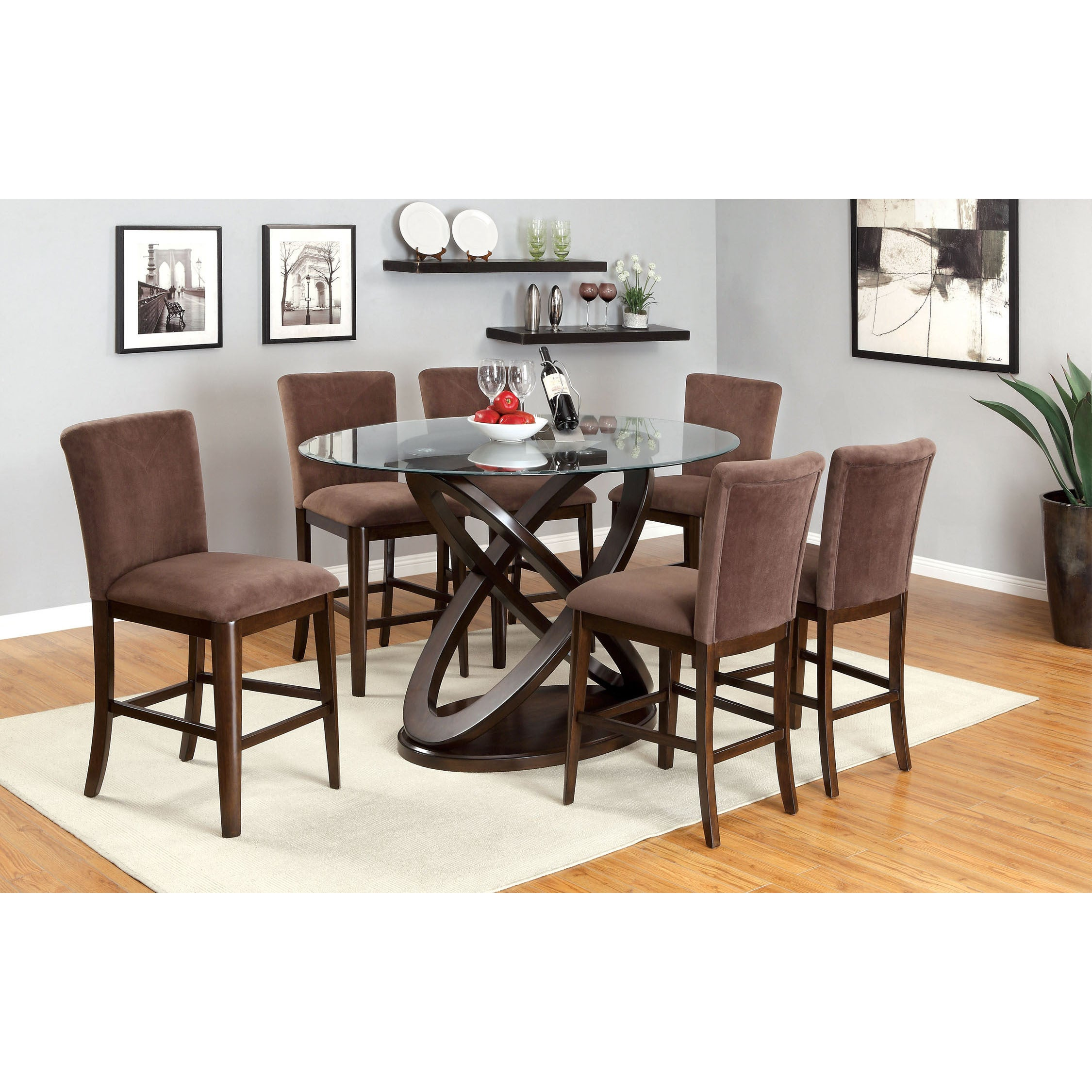08f7eb5c962fc8 Shop Keystone Contemporary Brown Counter Height Chair (Set of 2) by FOA -  On Sale - Free Shipping Today - Overstock - 9272992