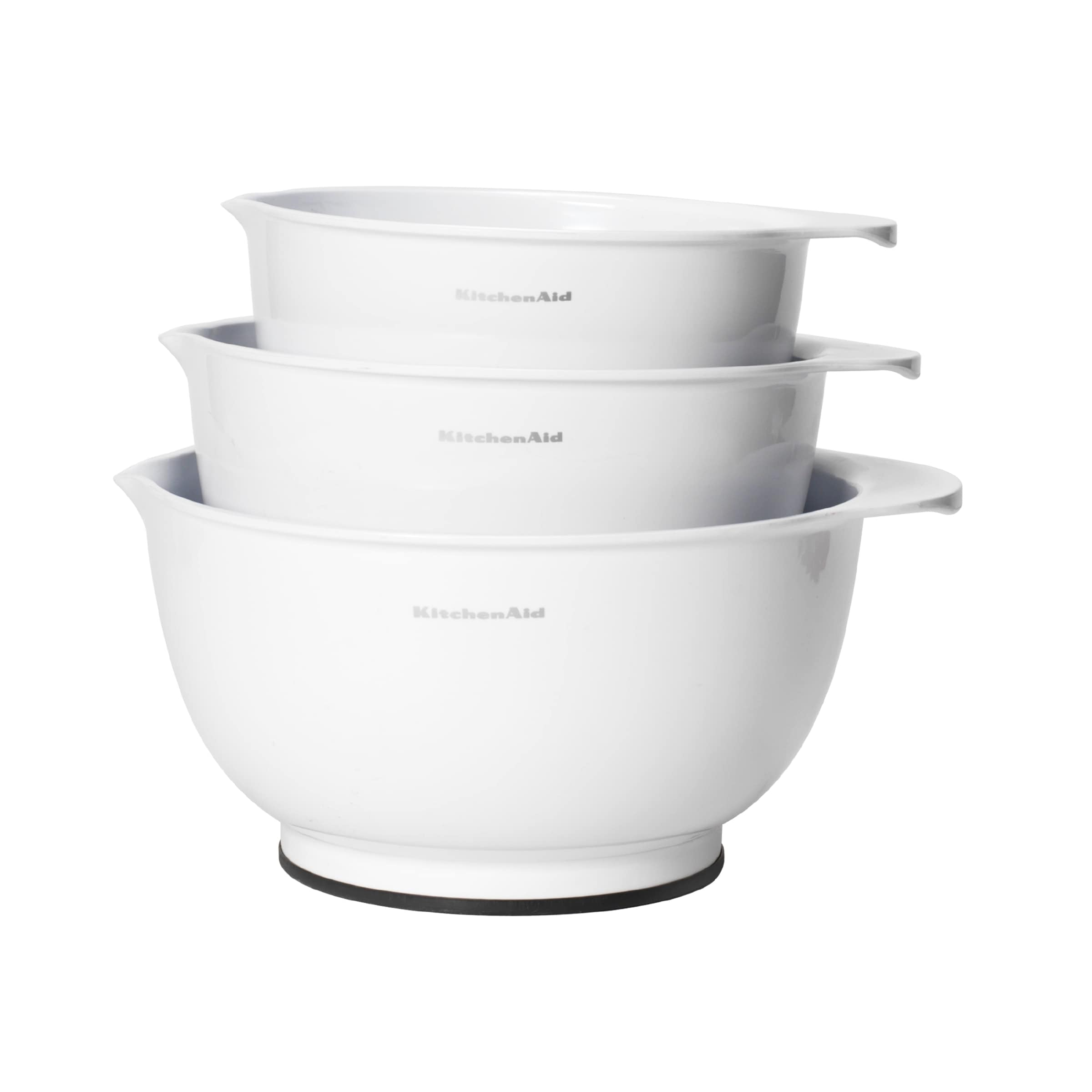 Shop Kitchen Aid Classic White Plastic Mixing Bowls (Set of 3 ...
