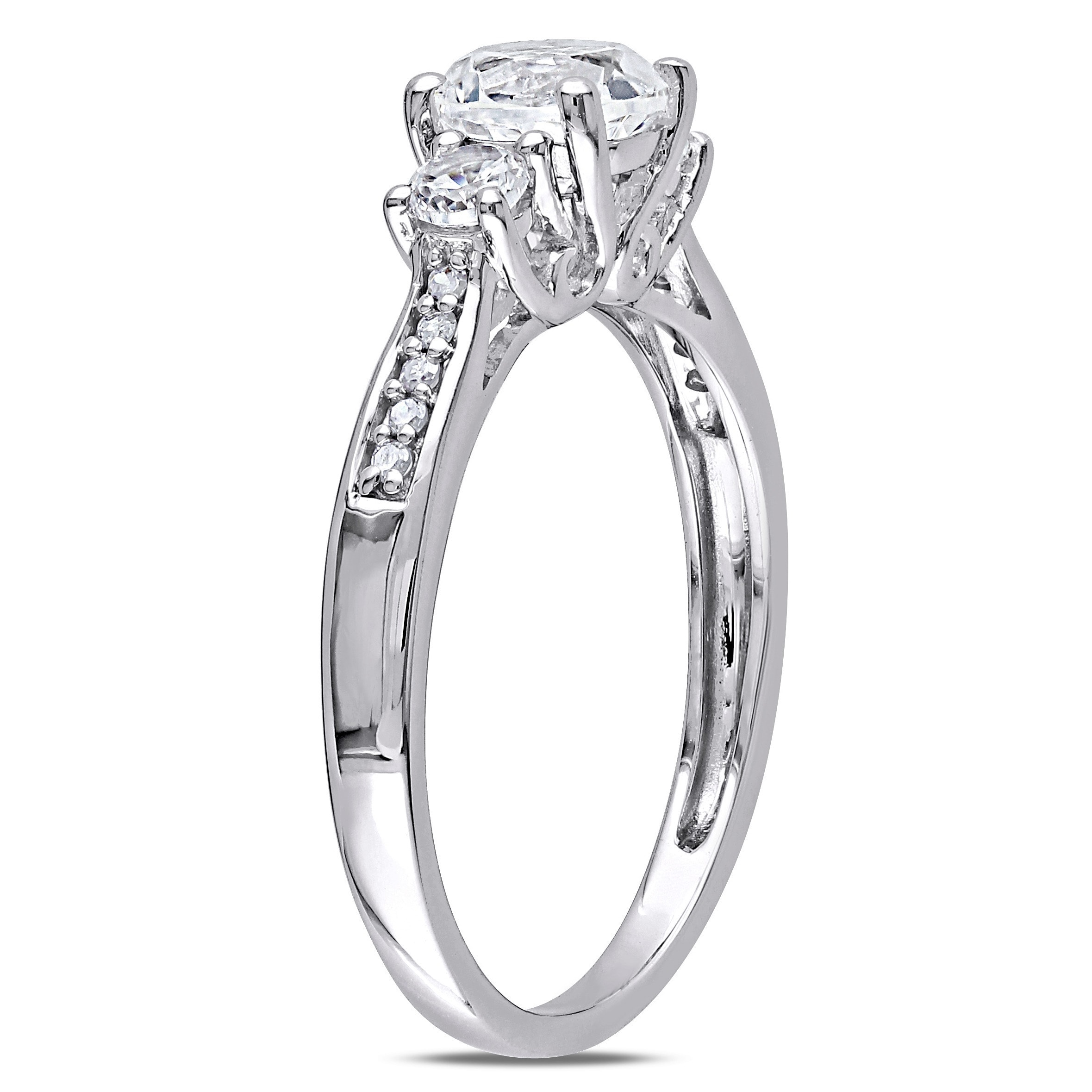 ring princess cut trillion rings diamond engagement white gold three stone trellis sku