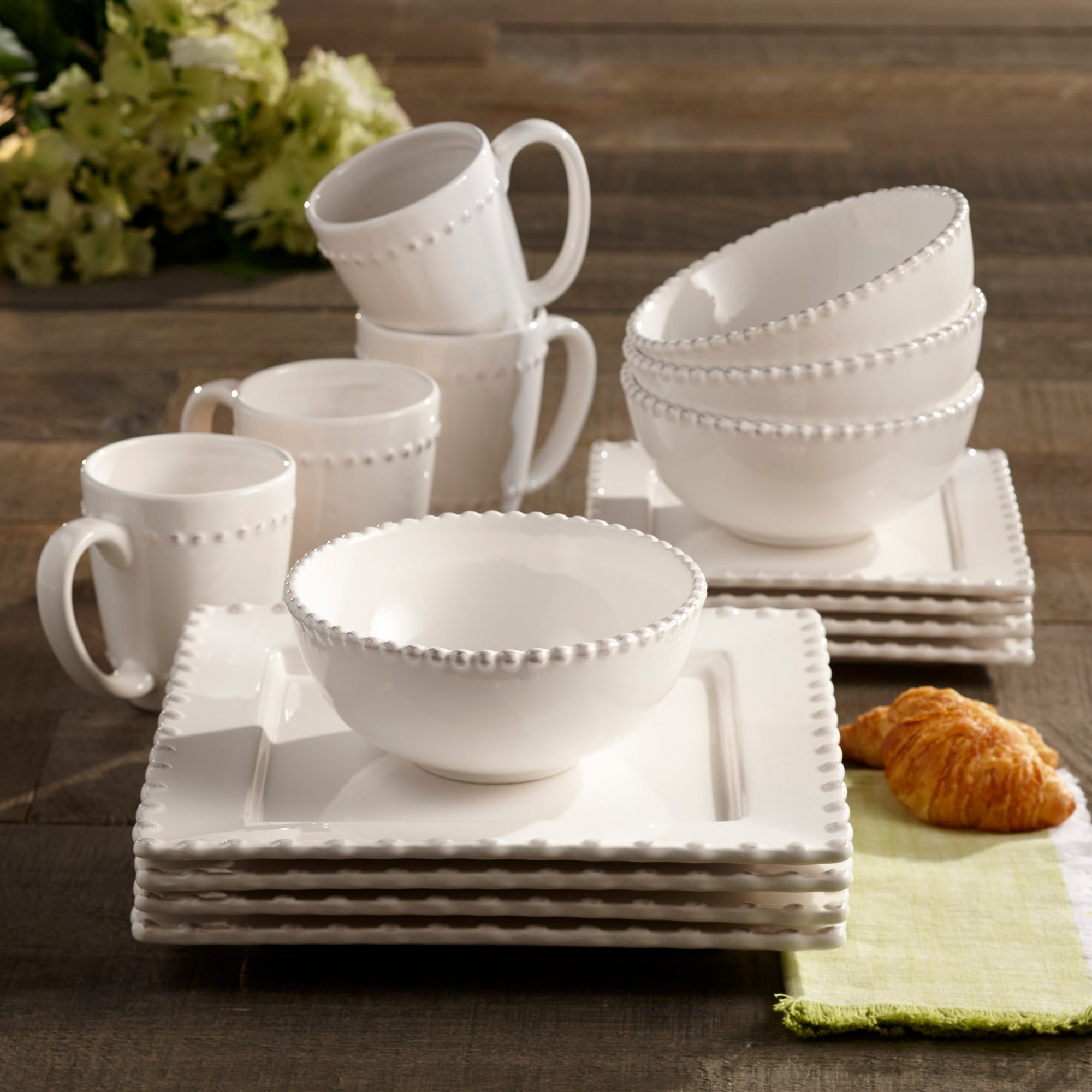 American Atelier Bianca Bead White Square 16-piece Dinnerware Set - Free Shipping Today - Overstock - 16446201 & American Atelier Bianca Bead White Square 16-piece Dinnerware Set ...