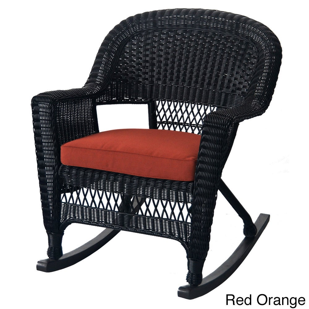 Shop Black Rocker Wicker Chair With Cushions (Set Of 2)   Free Shipping  Today   Overstock.com   9283177