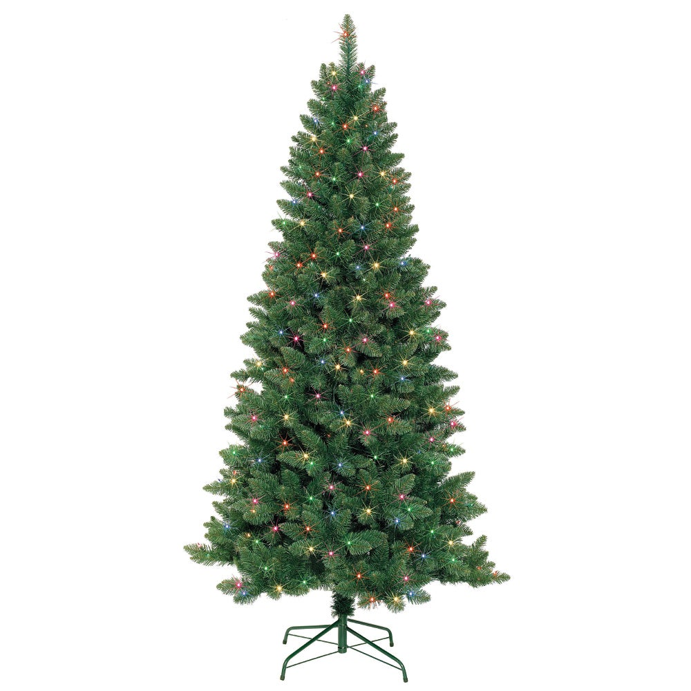 Shop 7-foot Slim Pre-Lit Artificial Christmas Tree With Metal Stand - On Sale - Free Shipping Today - Overstock - 9283605