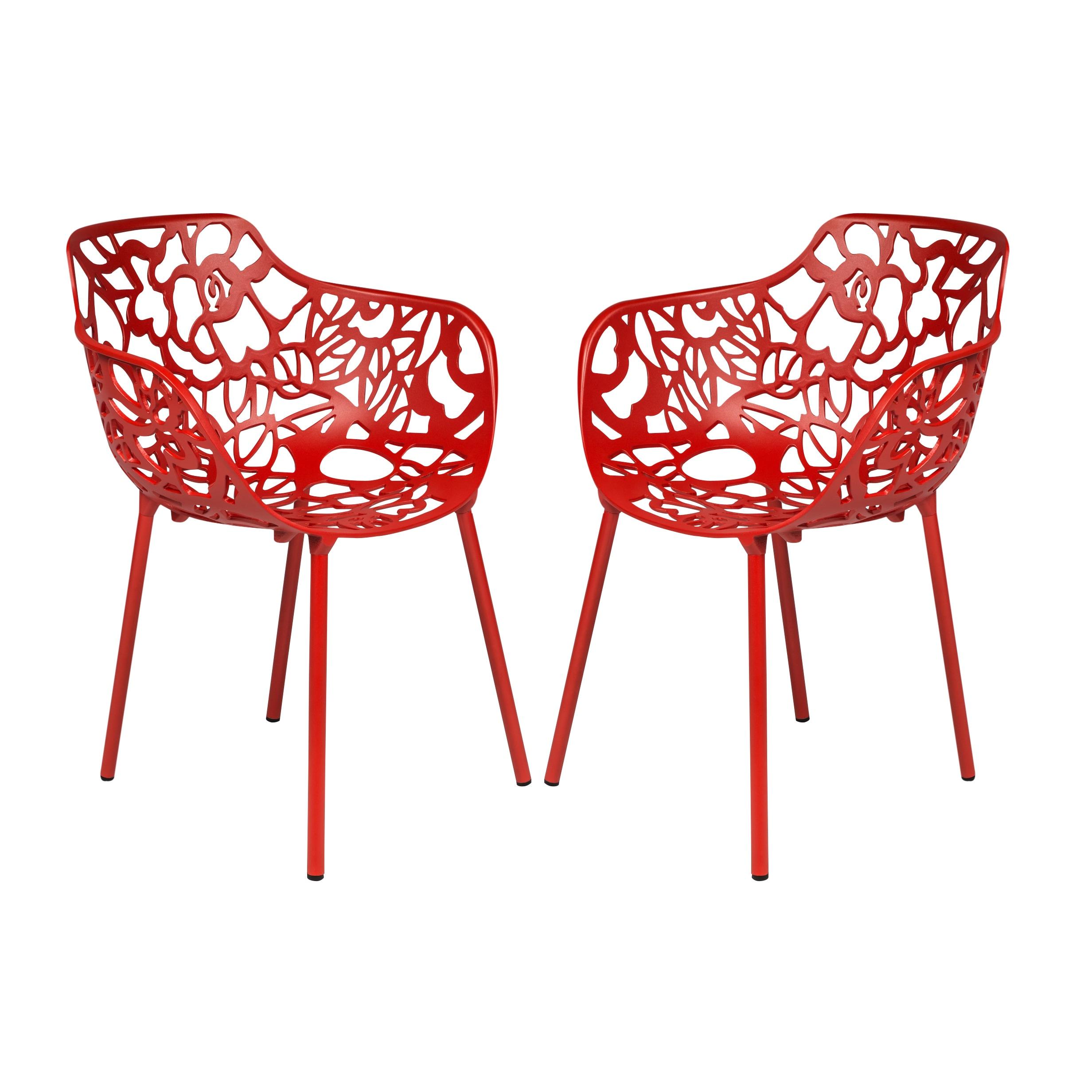 Shop LeisureMod Devon Red Aluminum Indoor Outdoor Dining Armchair Set Of 2    Free Shipping Today   Overstock.com   9283626