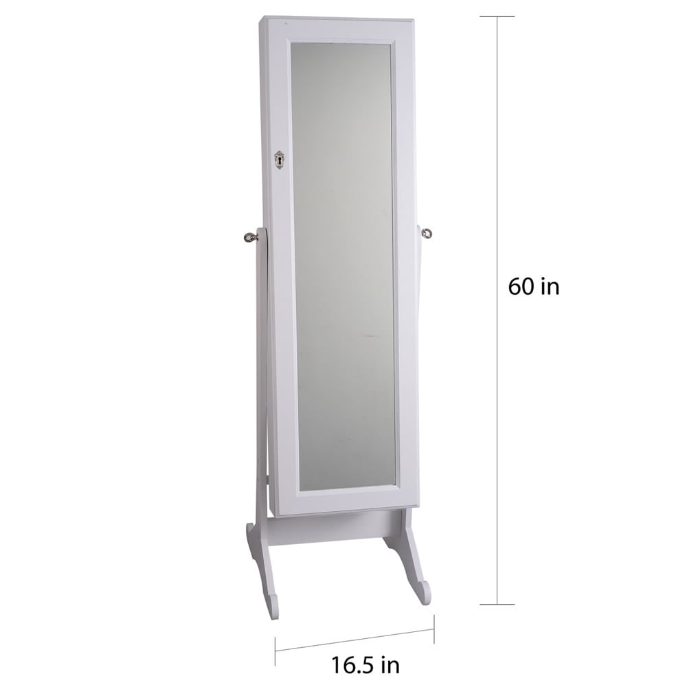 Premium White Cheval Mirror Jewelry Cabinet Armoire Box Stand