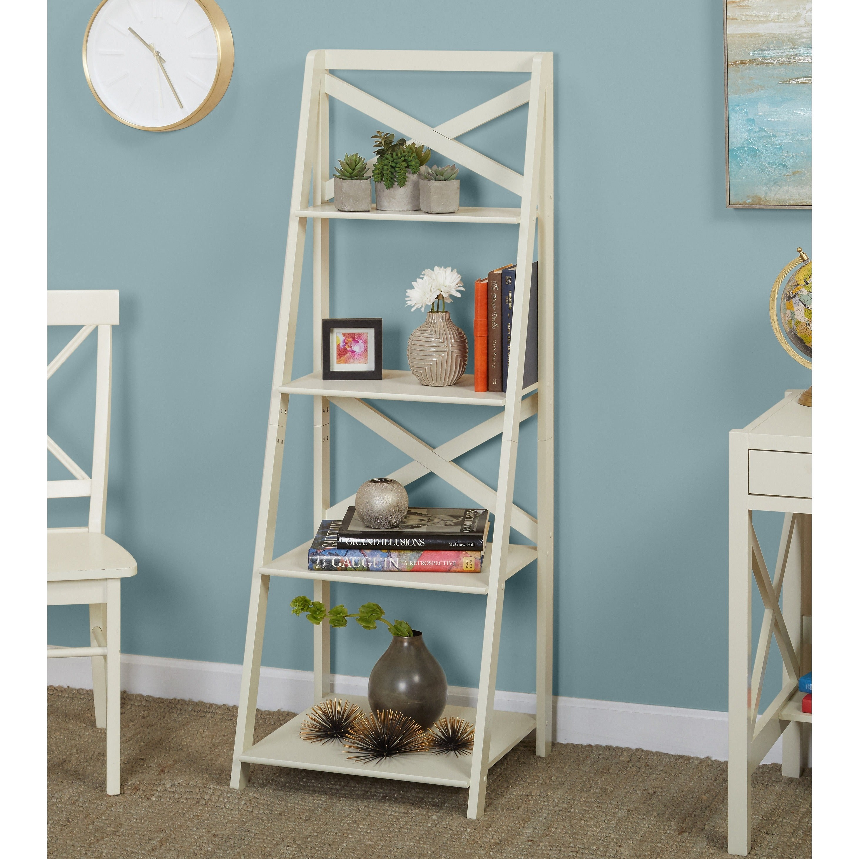 Shop Simple Living Antique White 4-tiered X-Shelf Ladder Case weight ...