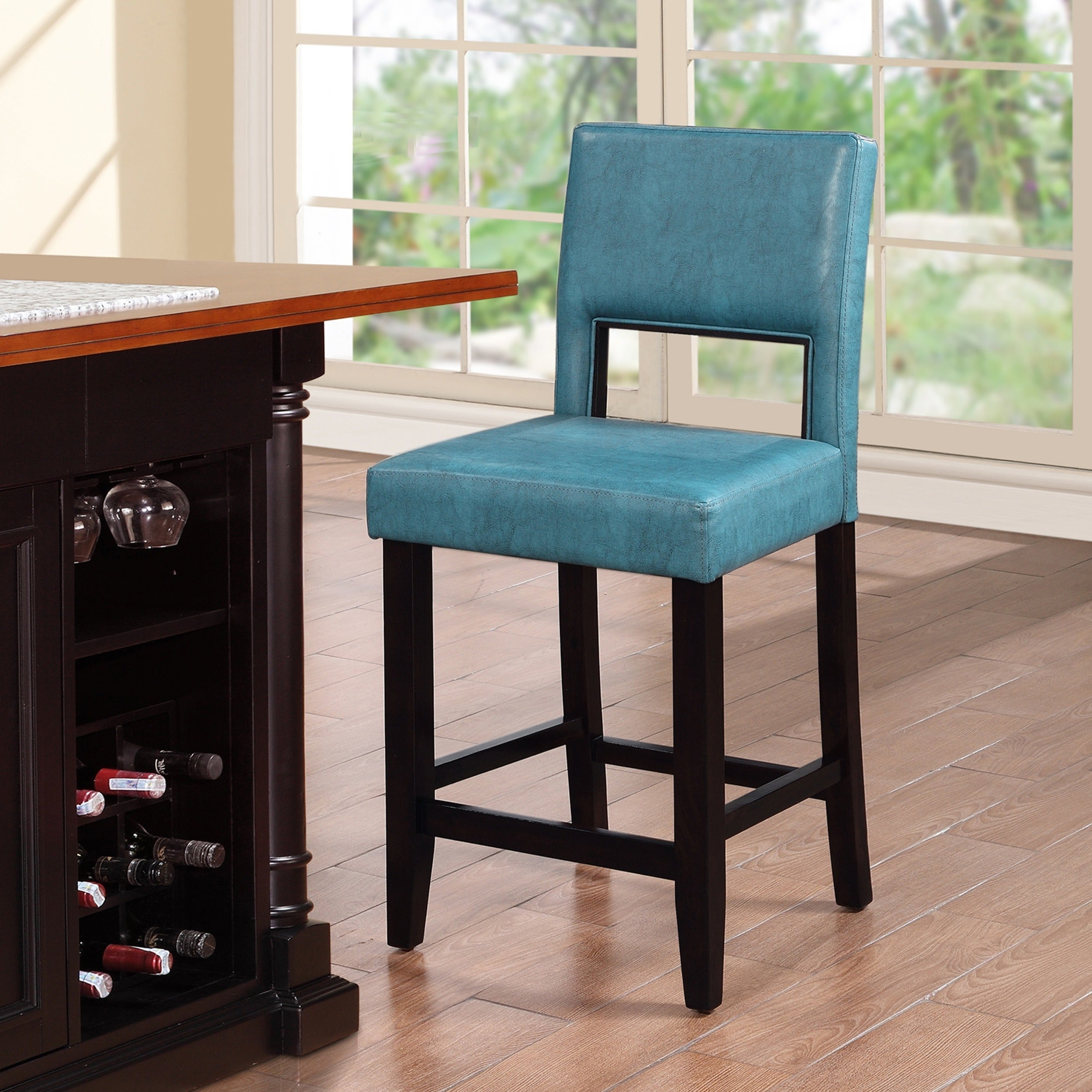 Shop Linon Zeta Ocean Blue Fabric Stationary Counter Stool - Free ...