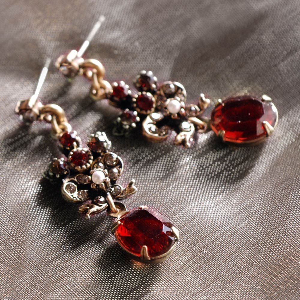 Sweet Romance Victorian Garnet Vintage Ruby Earrings On Free Shipping Orders Over 45 9290698