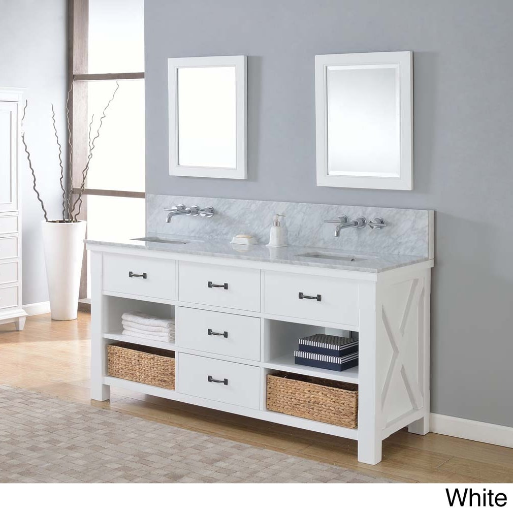 picture carrera modern style double vanity mission bathroom gallery sink inch with decoration turnleg console of white