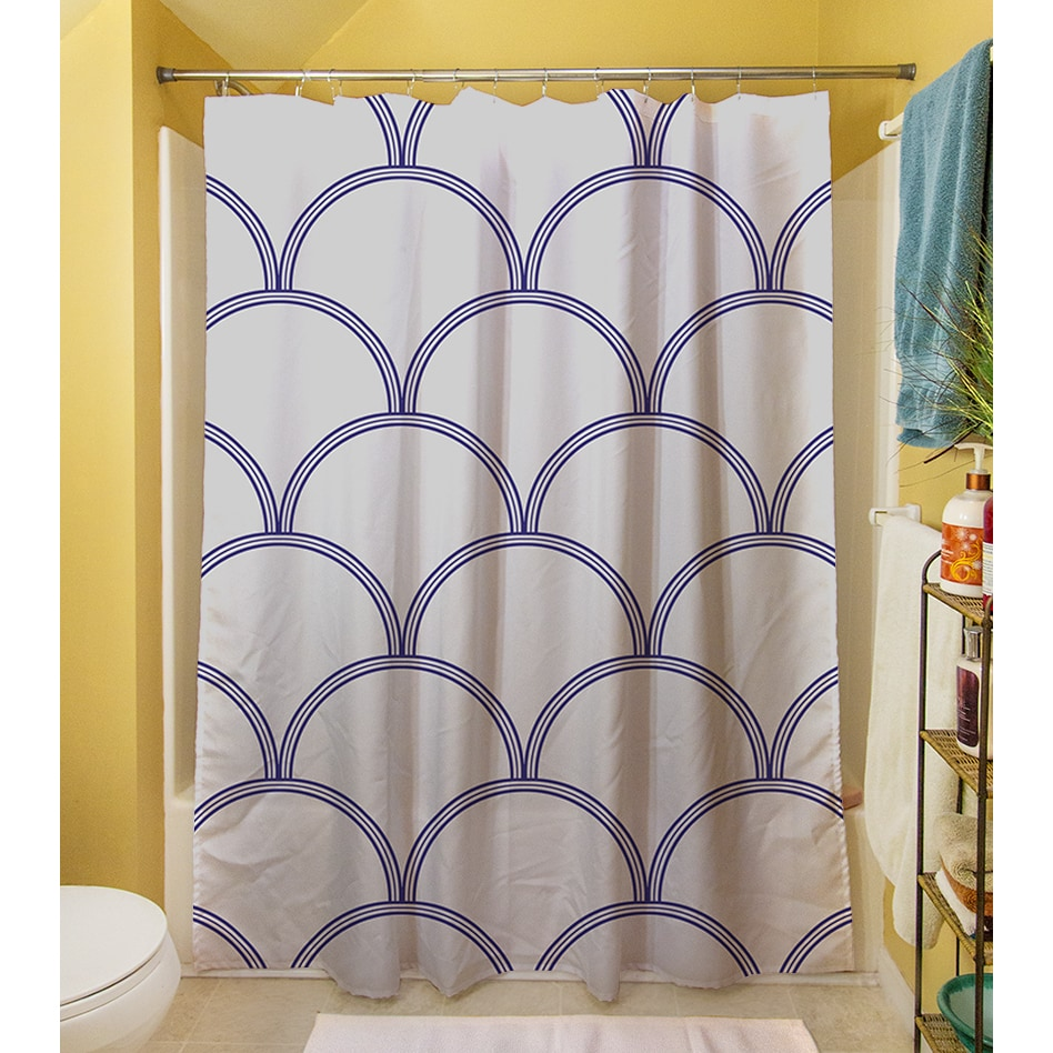 Art Deco Circles Grey Navy Shower Curtain Free Shipping Today 16453823