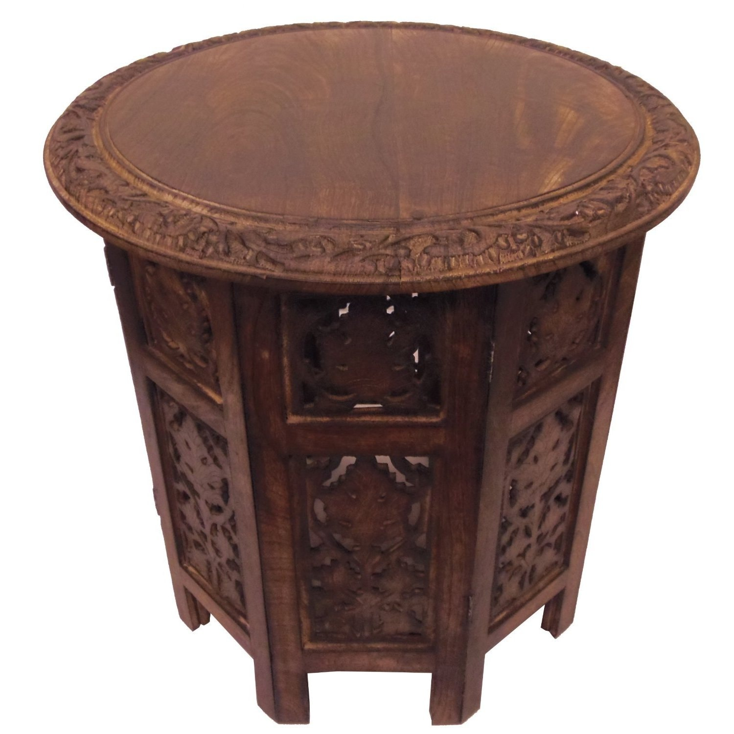 Celebration Folding Hand Carved Wood Accent Table Free Shipping