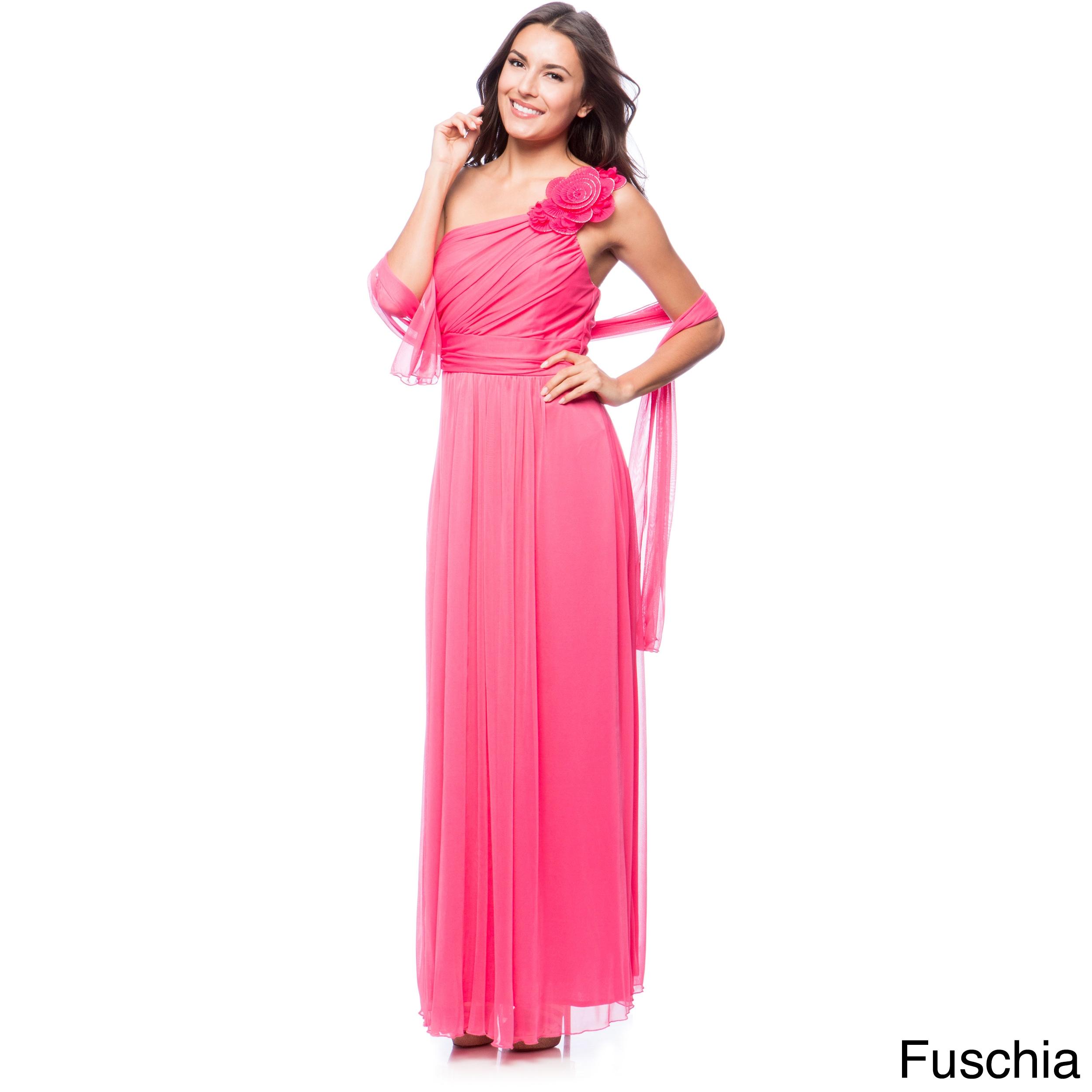 Shop DFI Women\'s Floral Applique One-shoulder Evening Gown - On Sale ...