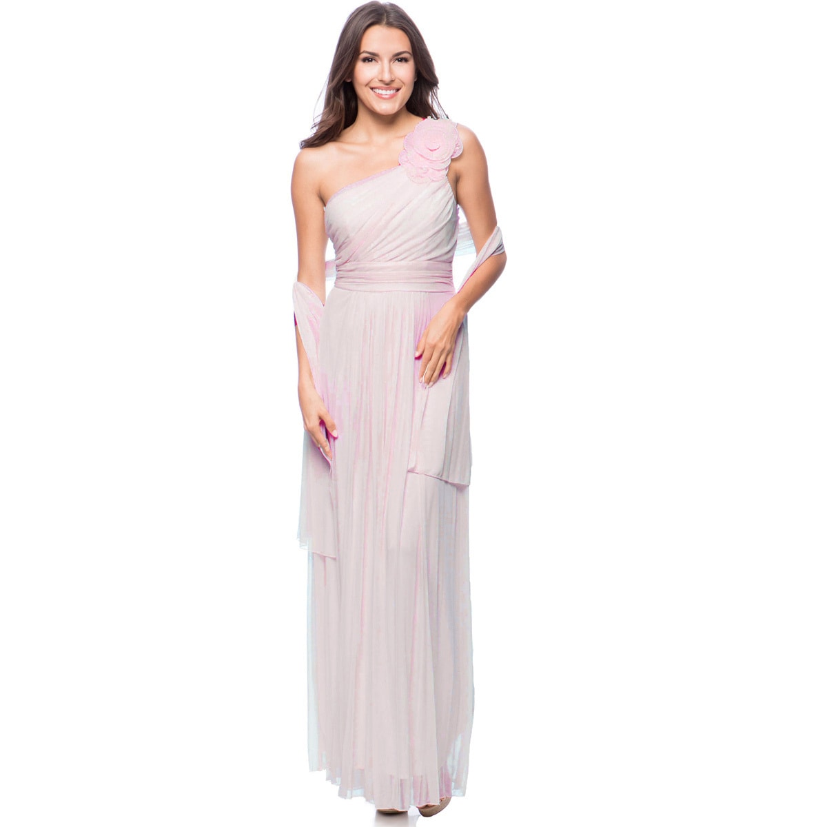Shop DFI Women\'s Floral Applique One-shoulder Evening Gown - Free ...