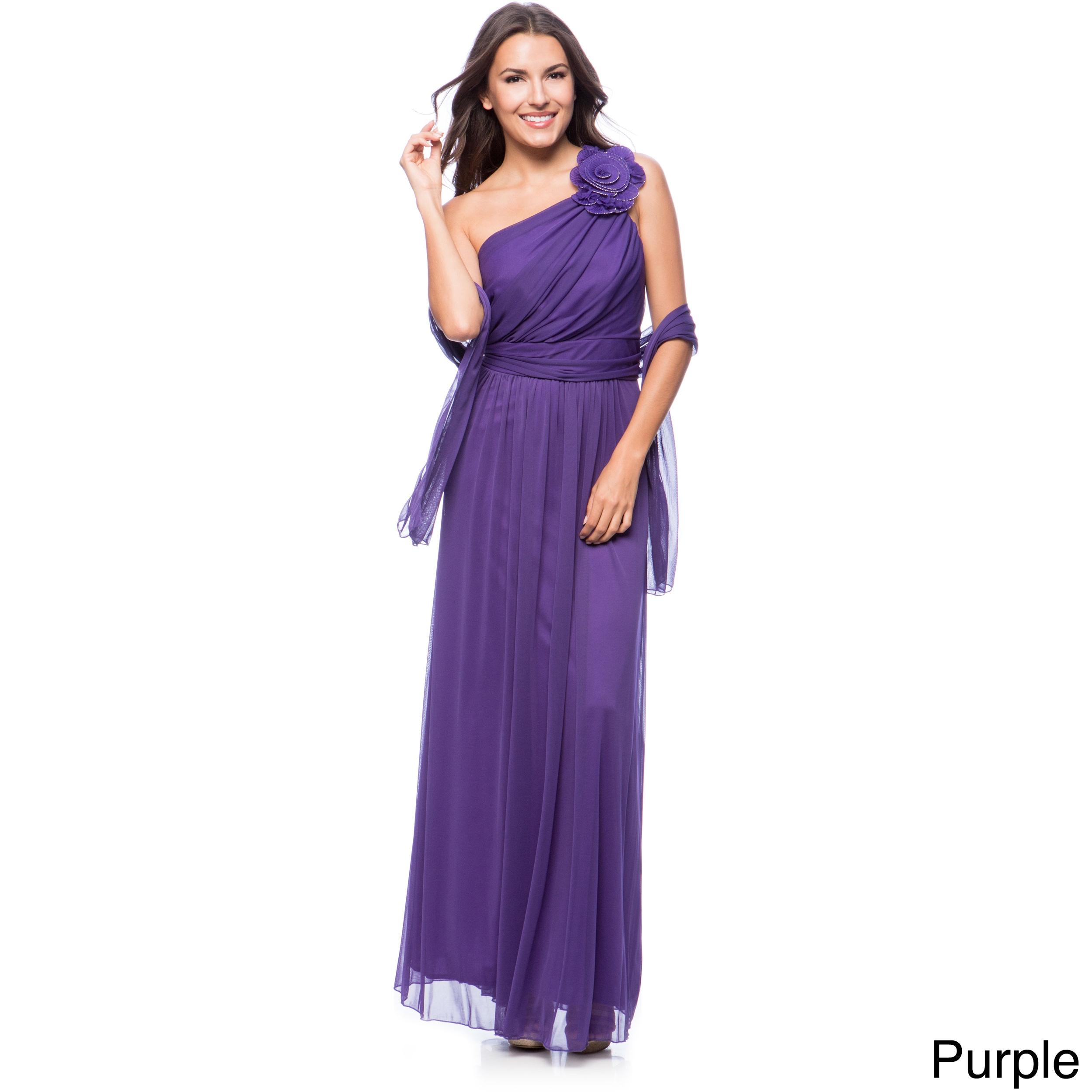 DFI Women\'s Floral Applique One-shoulder Evening Gown - Free ...