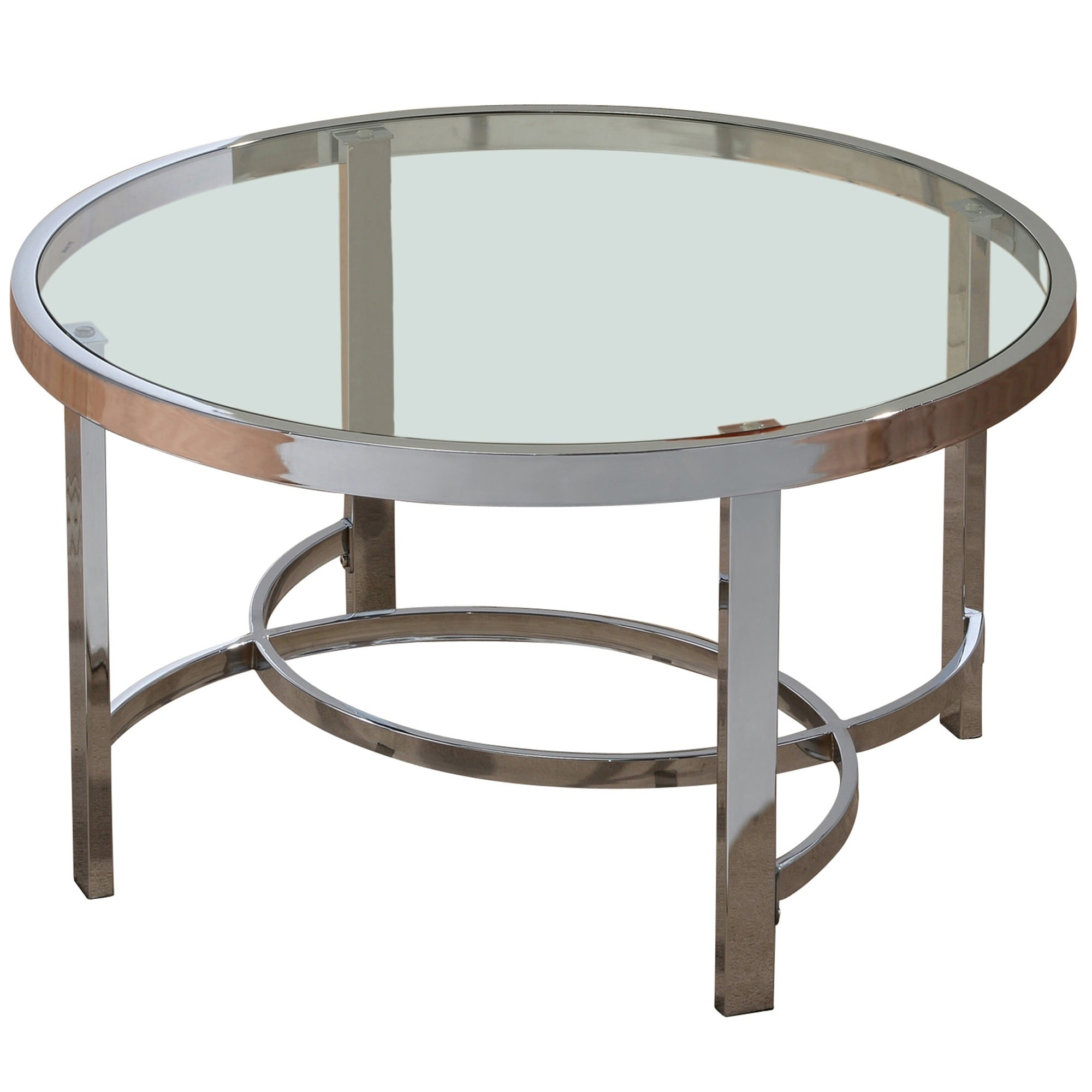 Shop Strata 32 Inch Chrome/ Glass Coffee Table   Free Shipping Today    Overstock.com   9293935