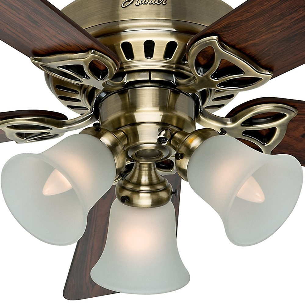 Shop hunter beacon hill antique brass 42 inch fan with 5 rosewood shop hunter beacon hill antique brass 42 inch fan with 5 rosewood medium oak blades white free shipping today overstock 9293998 mozeypictures Gallery